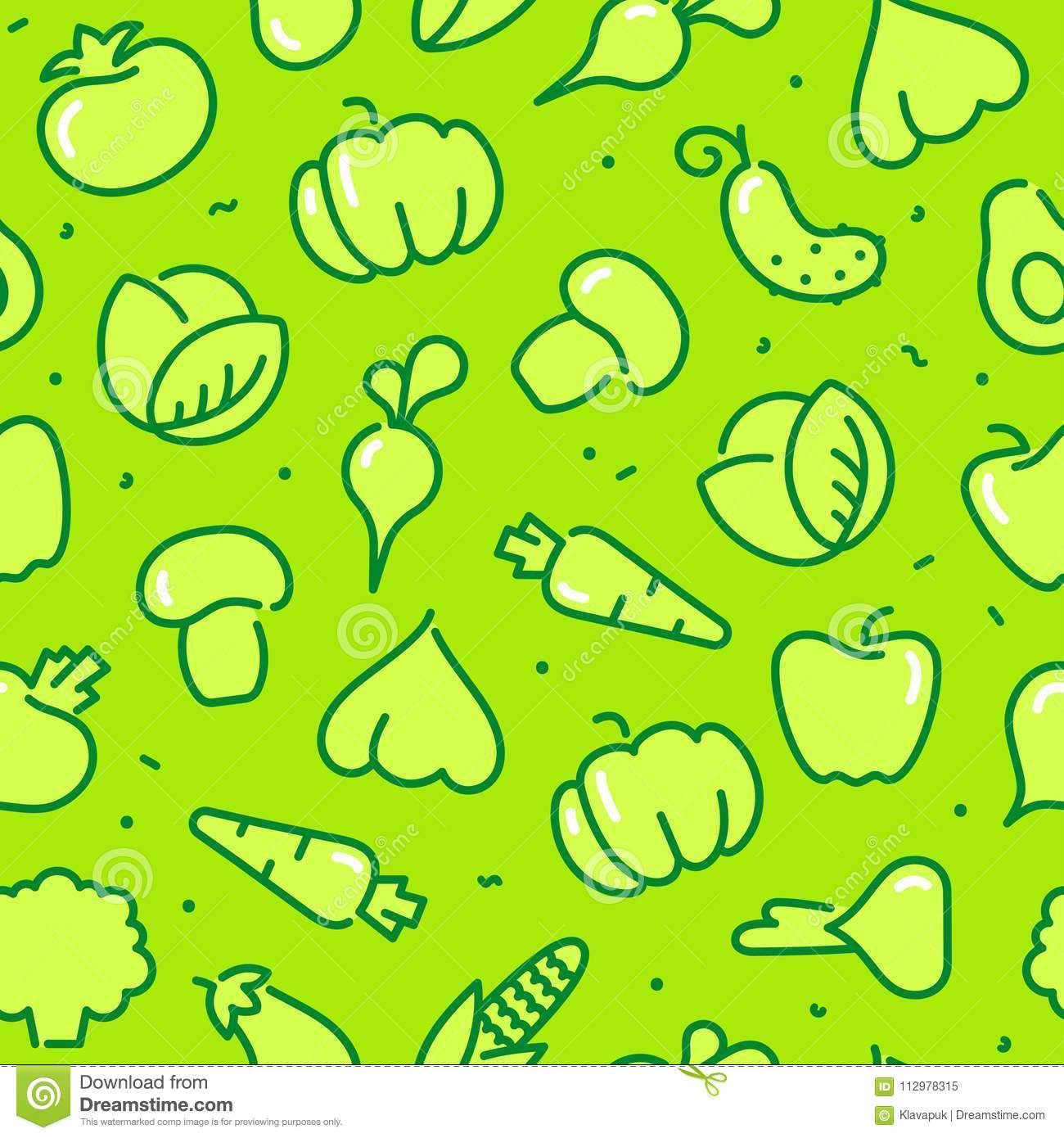 Stylized outlines of vegetables. Seamless background