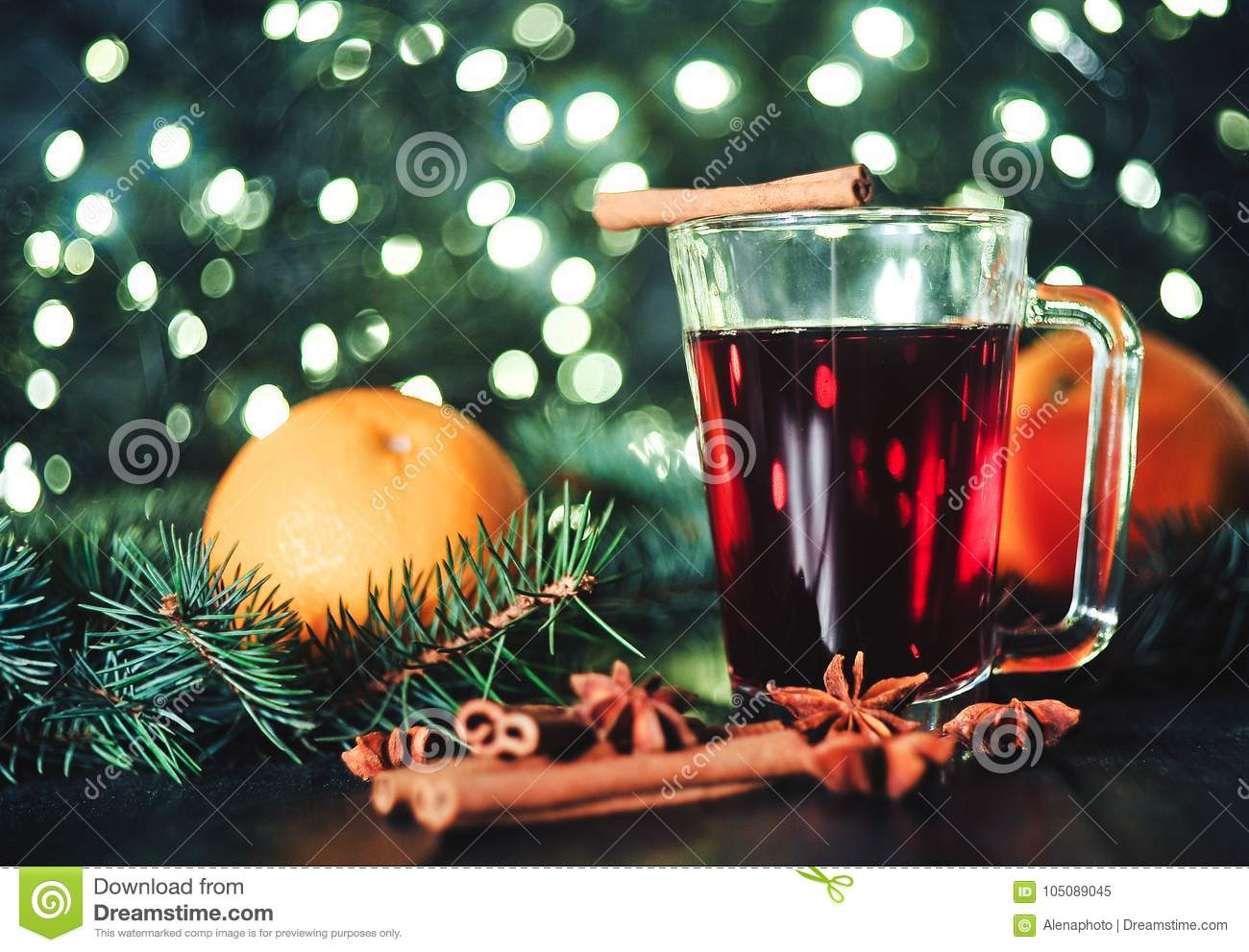 Stylized photo of mulled wine on a christmas background
