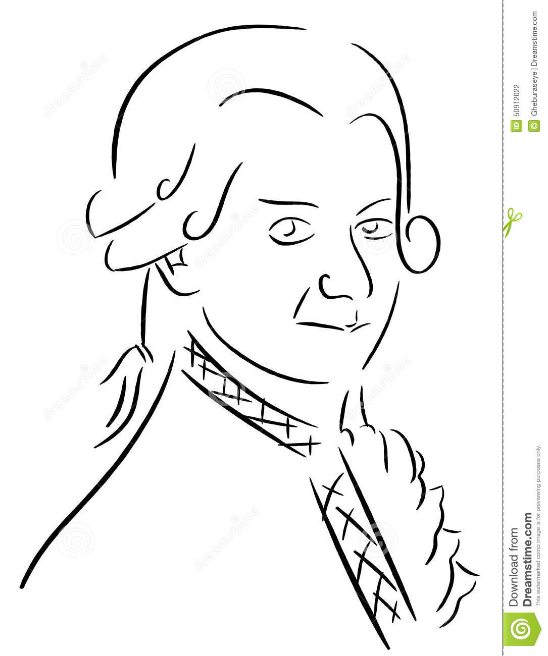 Stylized Portrait Of Musician Mozart Isolated In Black