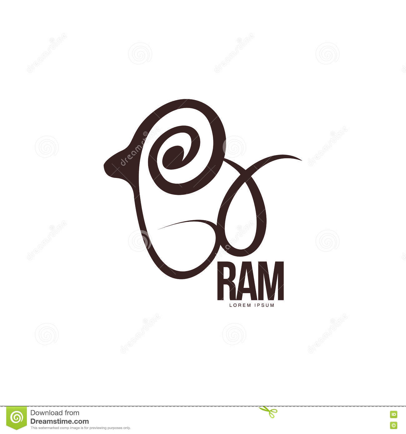 Stylized Ram, Sheep, Lamb Outline Graphic Logo Template Stock Vector
