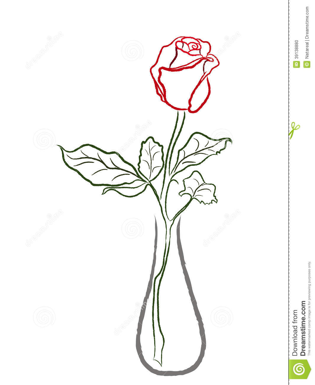 Stylized Red Rose In A Vase Stock Vector Image 39138880
