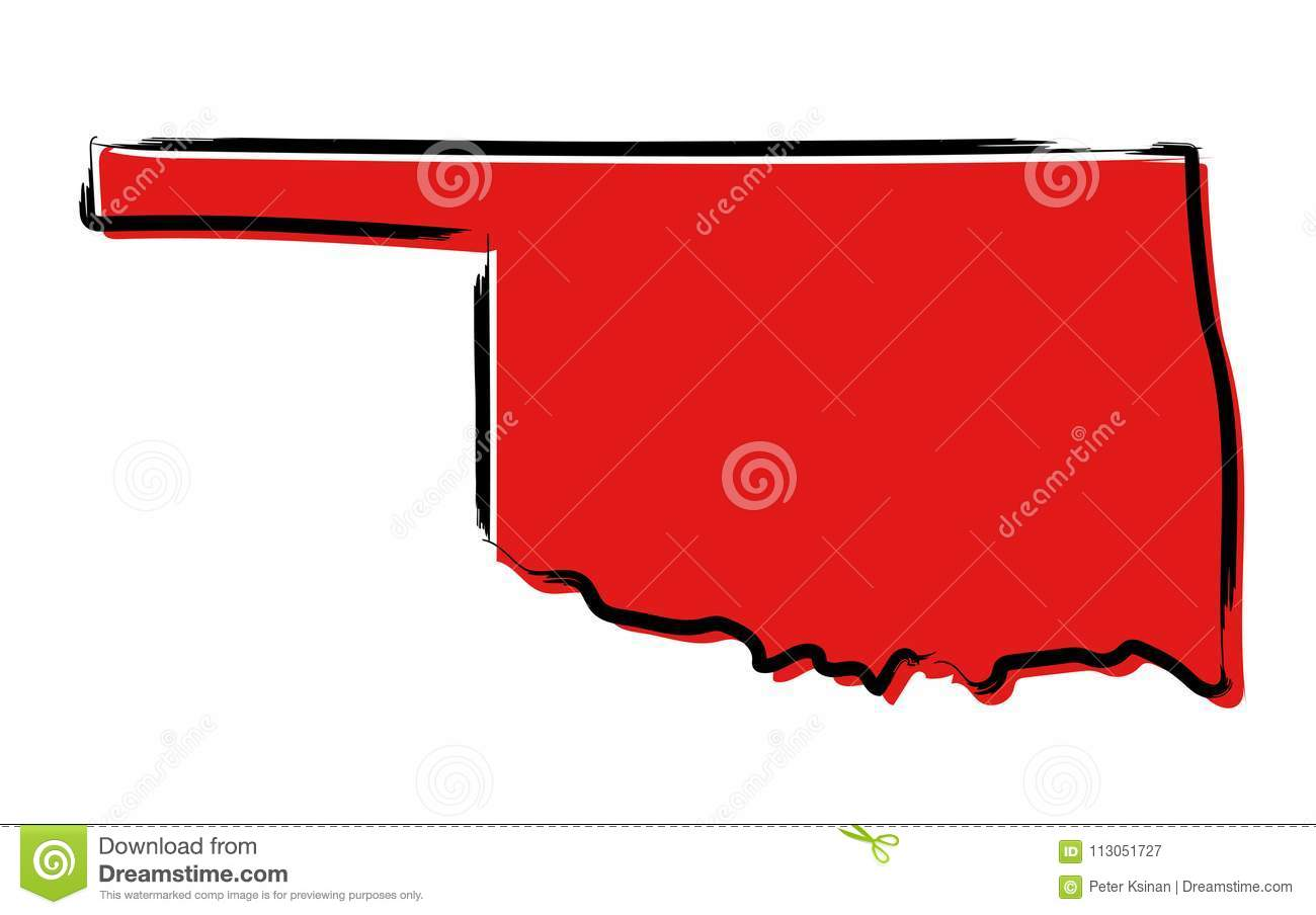 Red sketch map of Oklahoma stock vector. Illustration of america ...