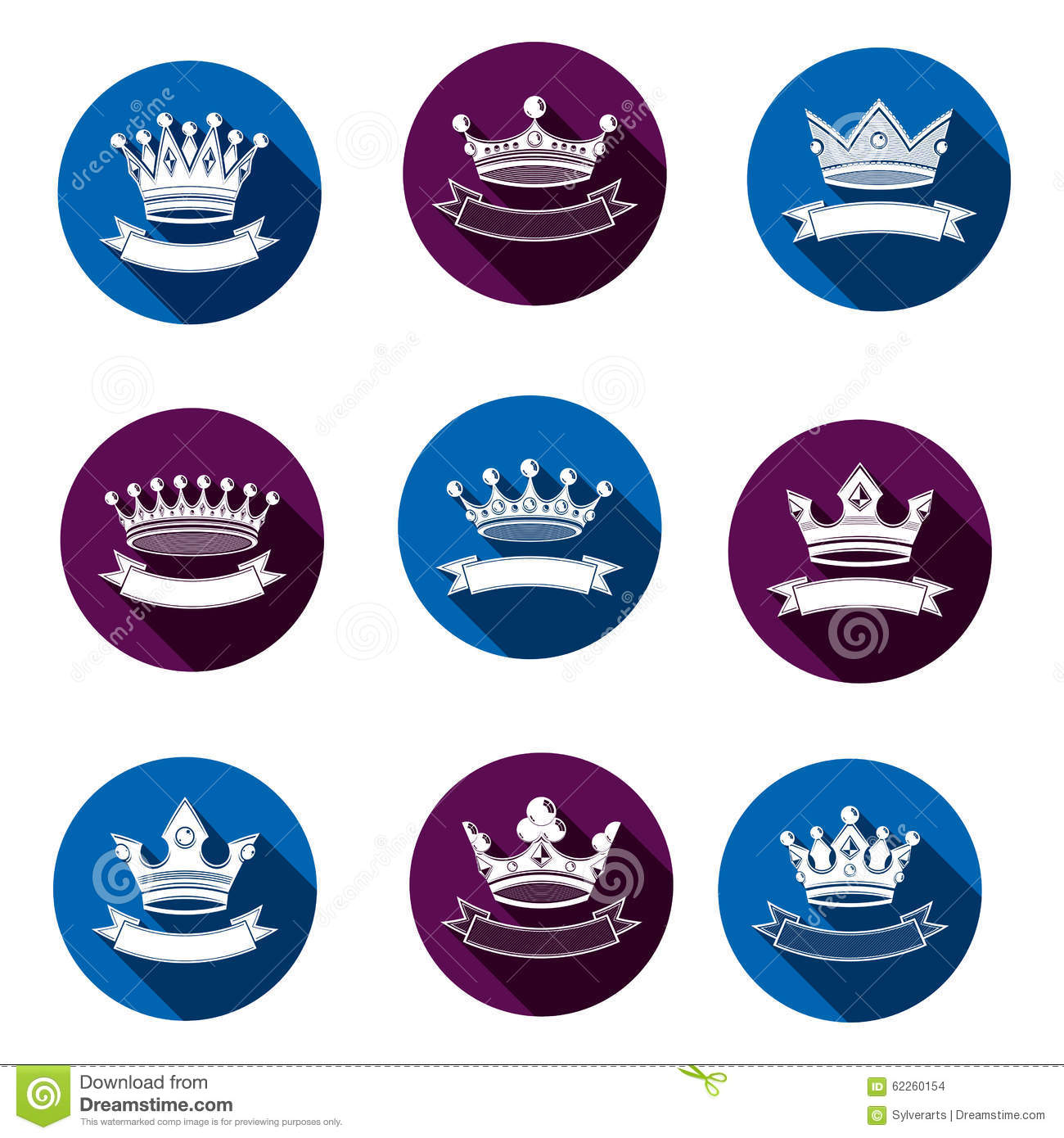 Majestic Crowns Emblems Set Heraldic Coat Of Arms