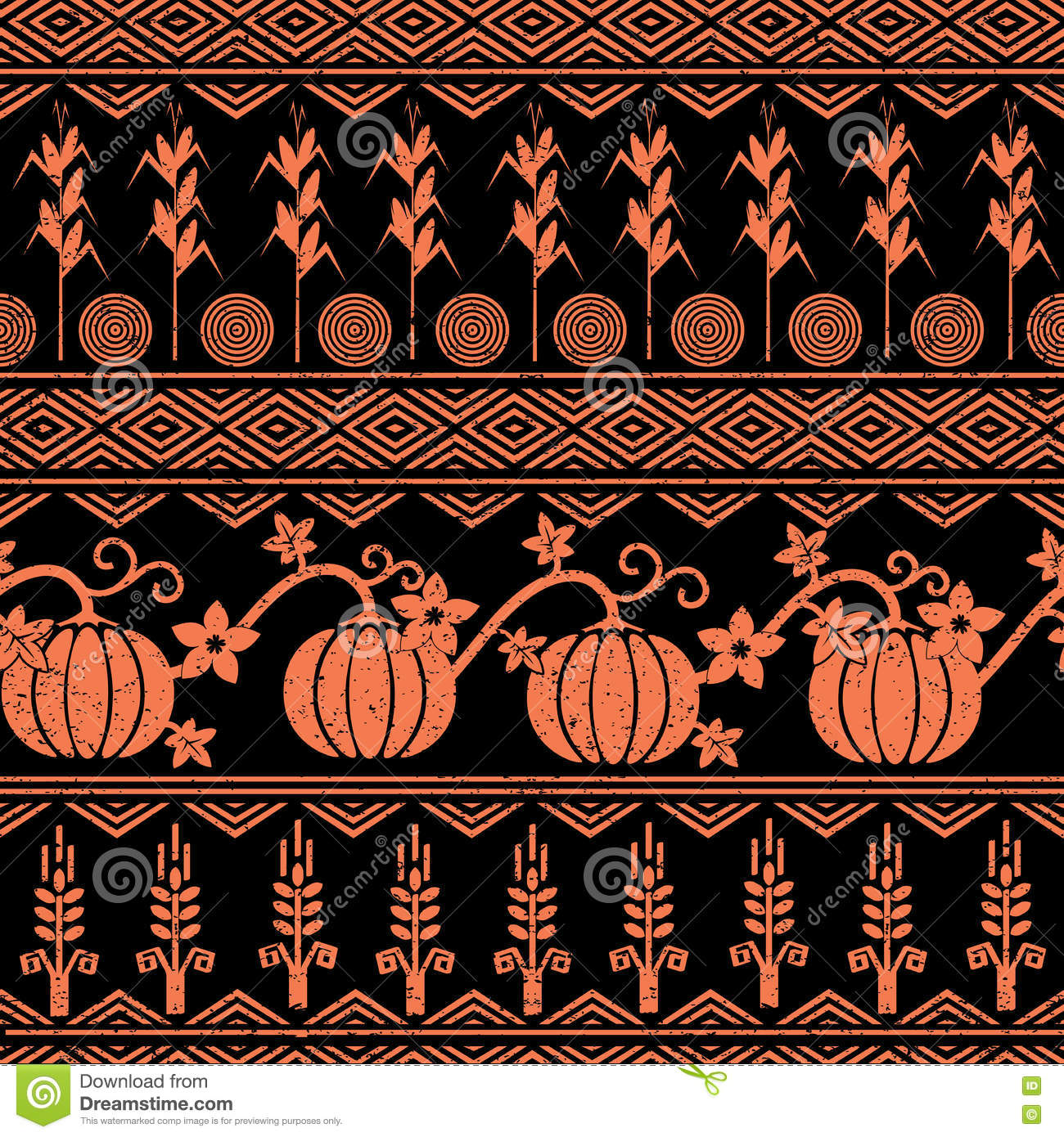 Stylized Seamless Background With Wheat Corn Pumpkins And Native