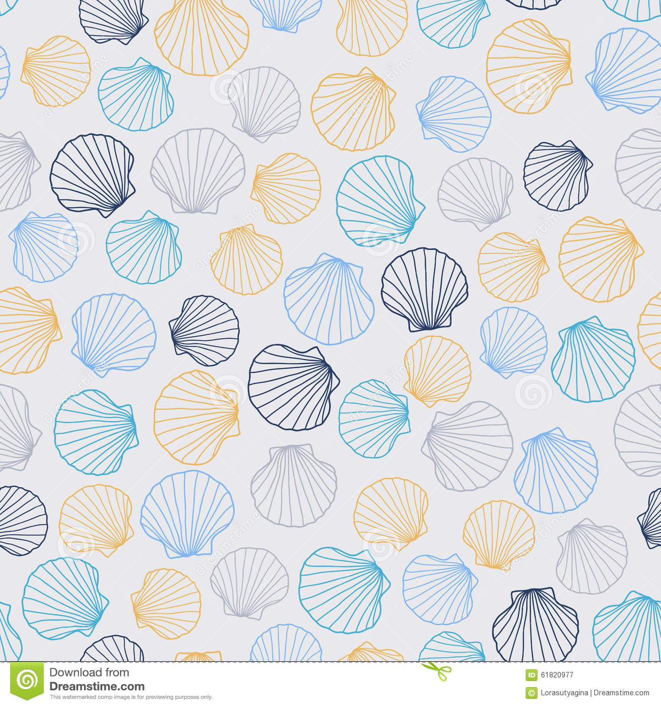 stylized seamless texture with round seashells stock vector