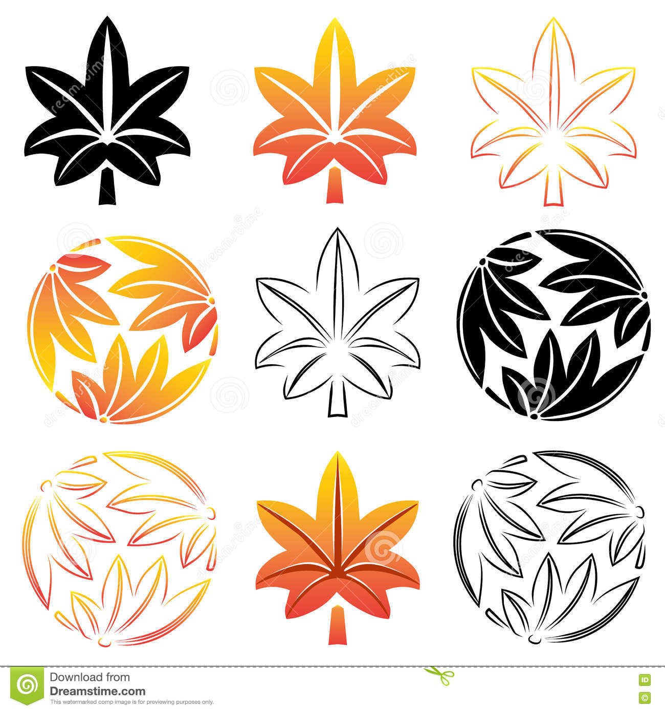 The Stylized Set Maple Leaves Japanese Symbolism Illustration