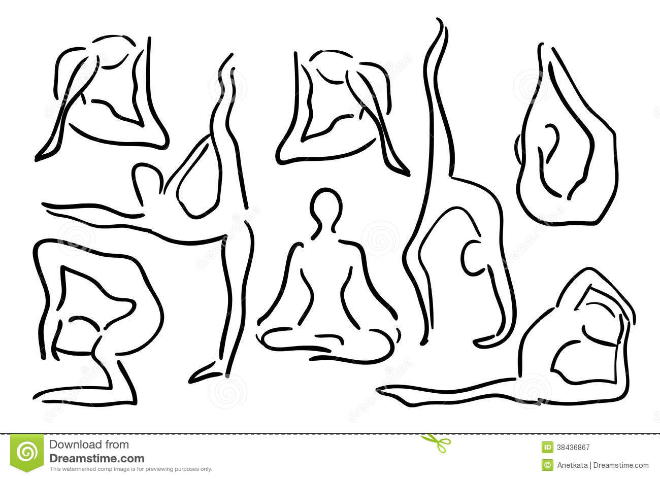Line Drawing Yoga Pose : Stylized sketch yoga poses vector illustration stock
