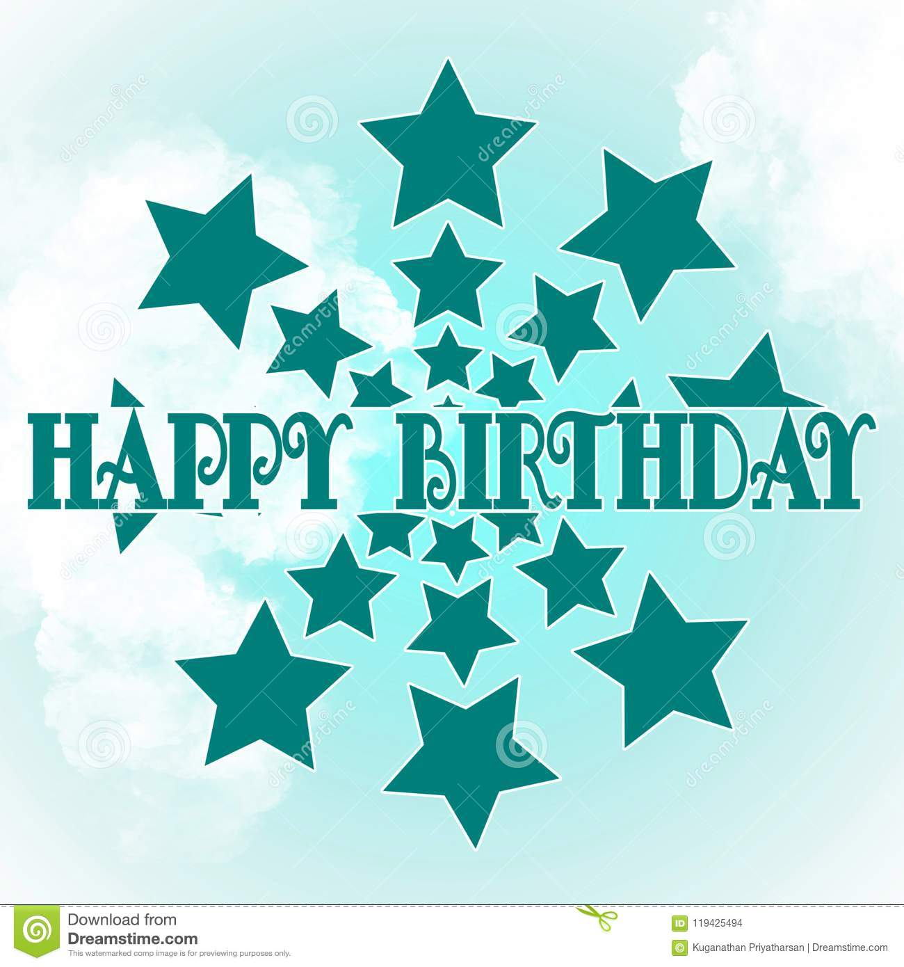Stylized Textured Template For Birthday Card Light Background With Wishes And Stars