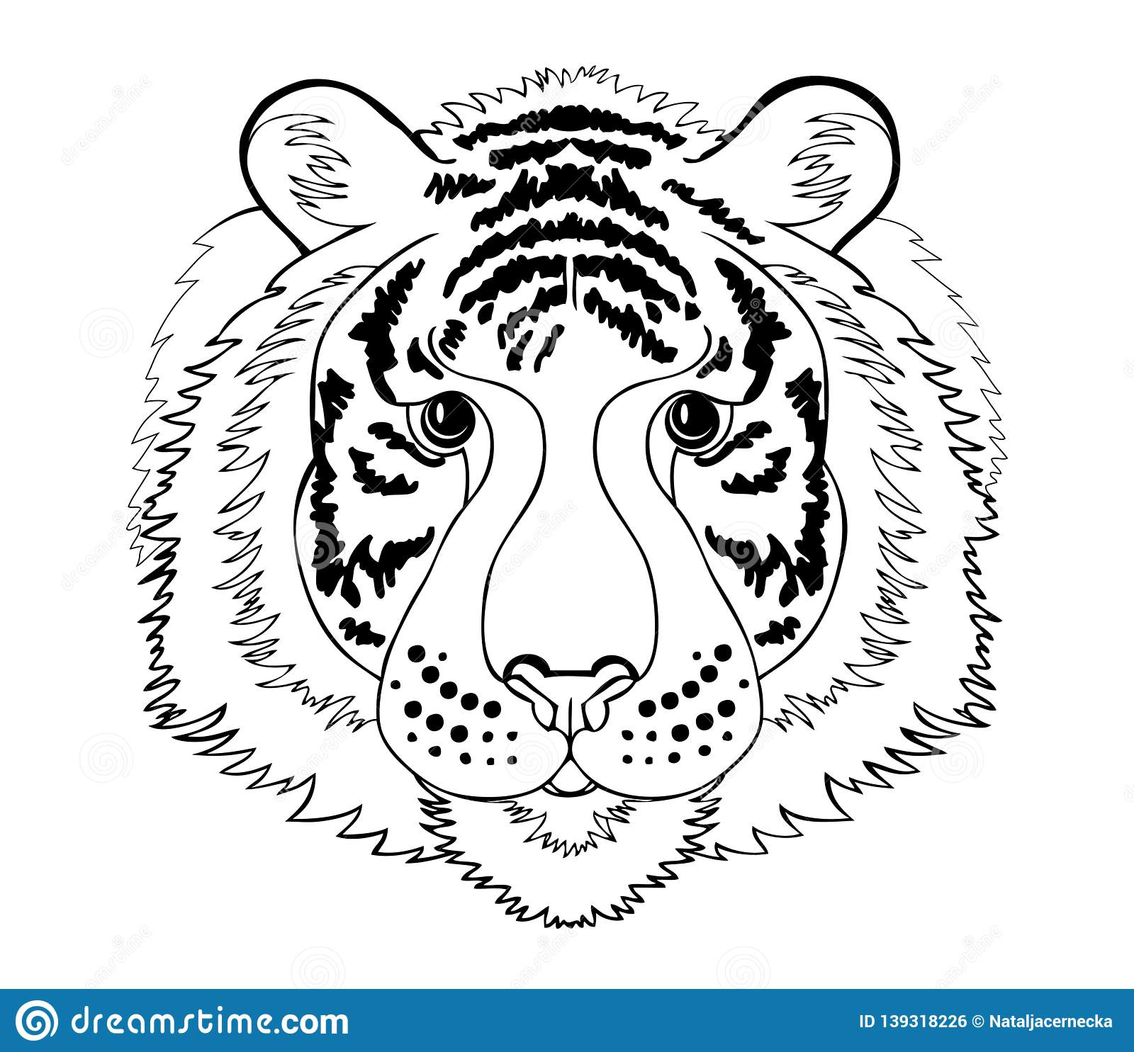 Stylized Tiger Head Black And White Page For Coloring Book