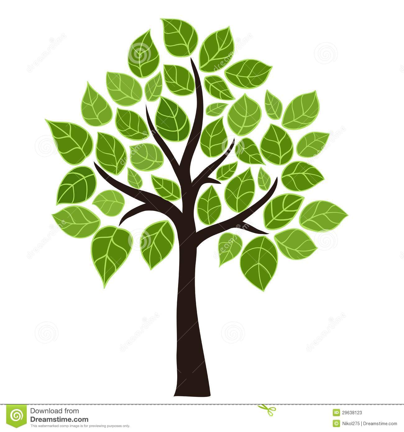 Stylized vector tree with green leafs. Element design.