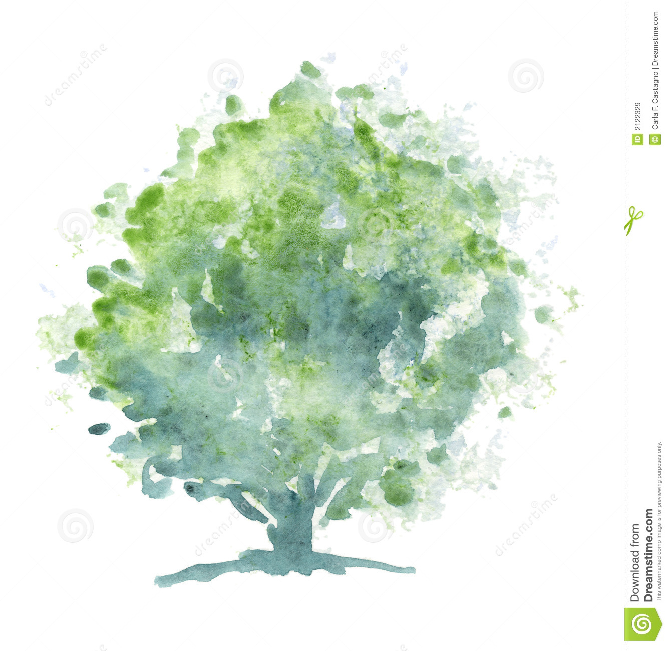 Stylized tree - Watercolor stock illustration. Illustration of ...