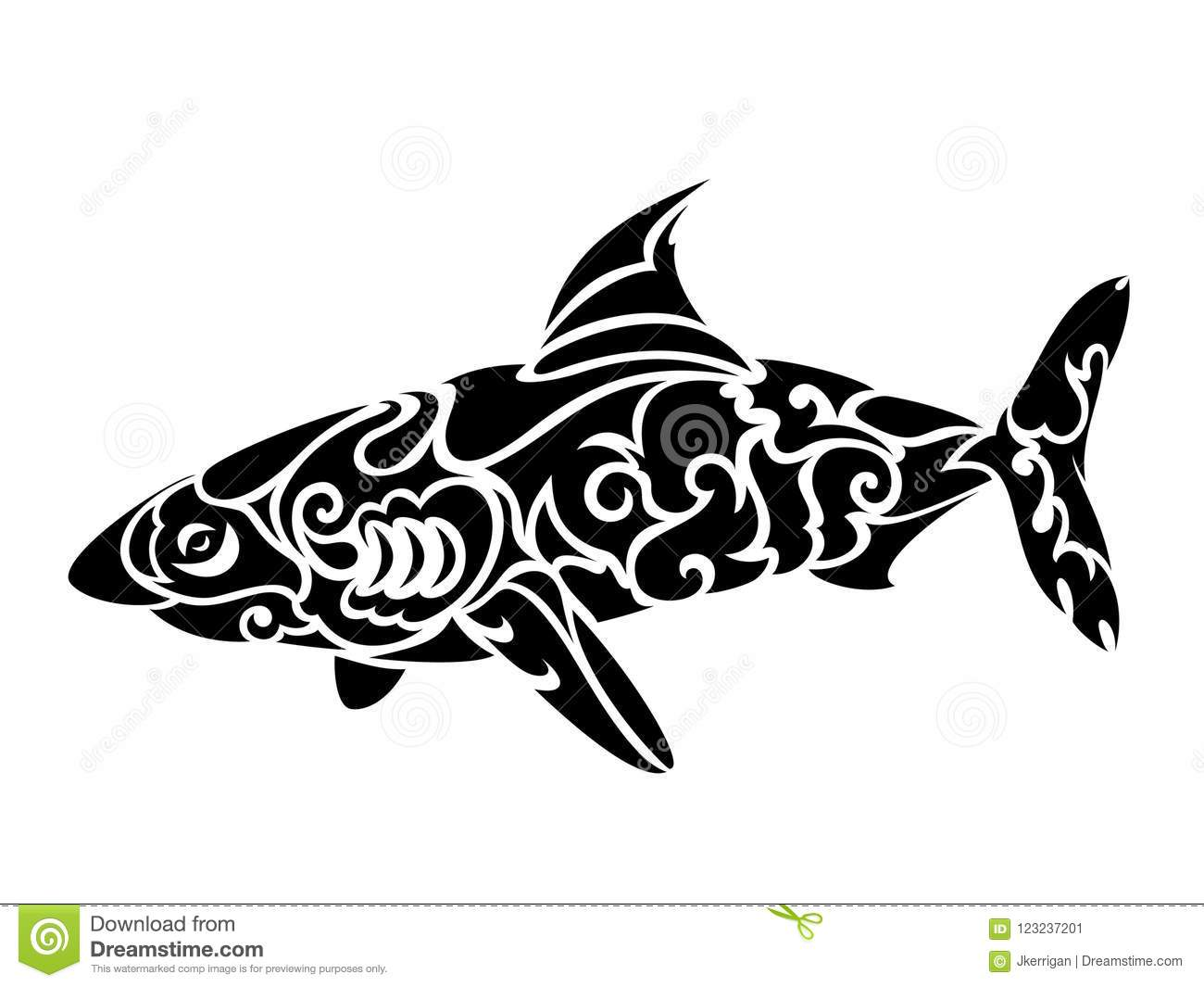9d700e475 Unique vector illustration of black tribal shark tattoo isolated on white  background. More similar stock illustrations
