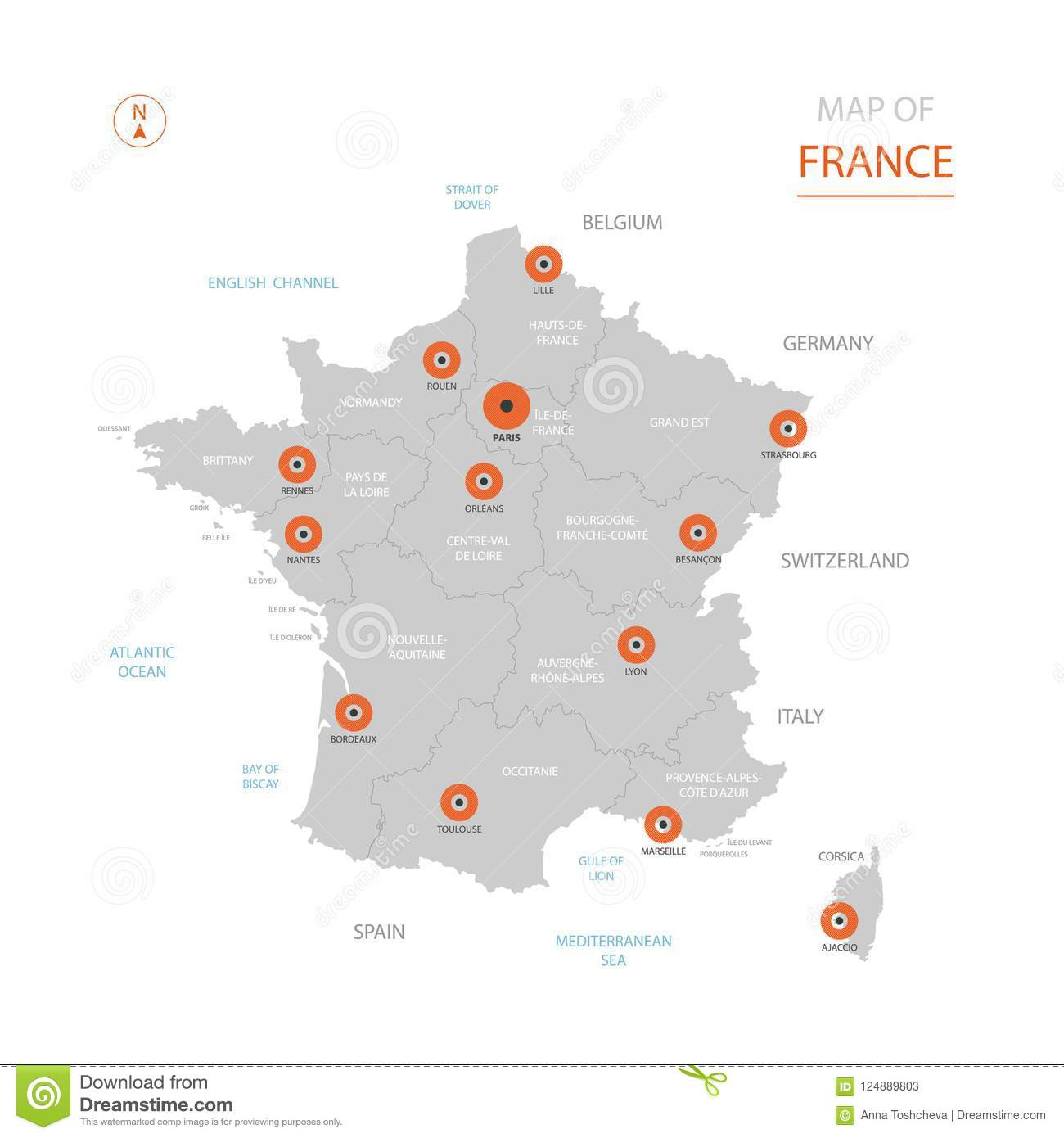 Map Of France With Key.France Map With Administrative Divisions Stock Vector