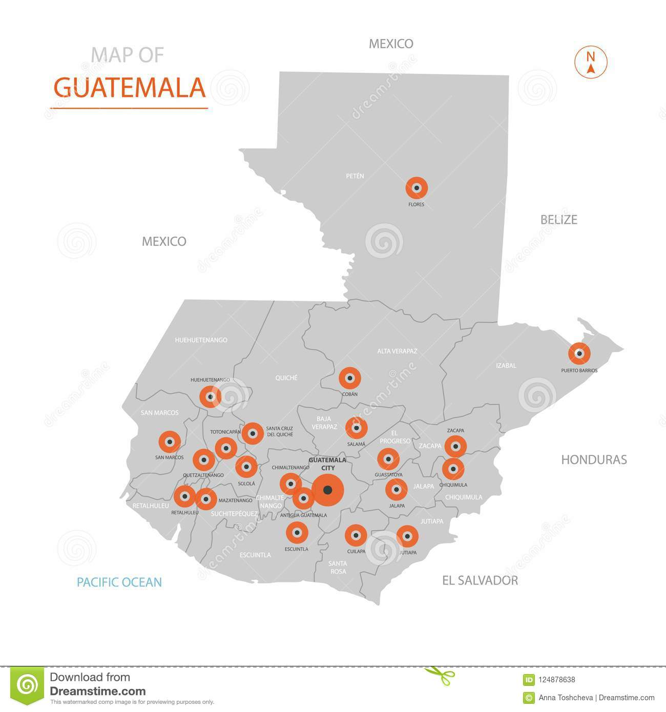 Guatemala Map With Administrative Divisions. Stock Vector ...