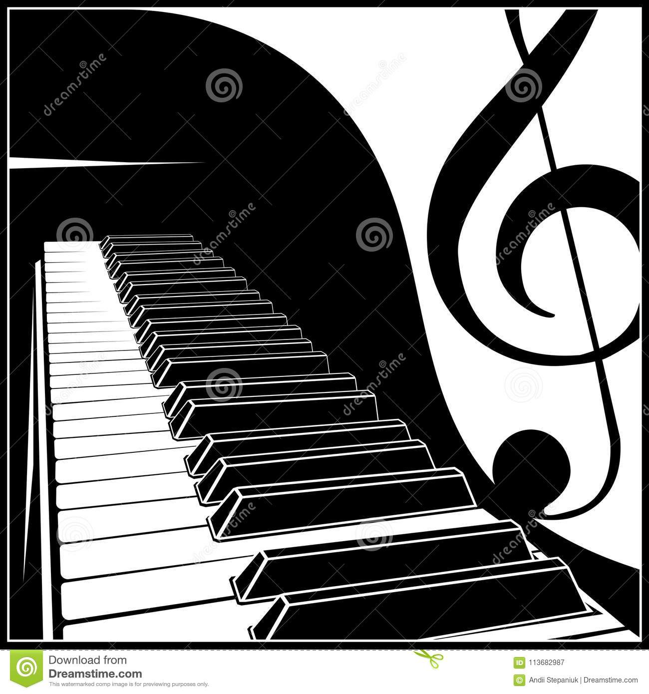 Piano Keyboard With A Symbolic Note Stock Vector