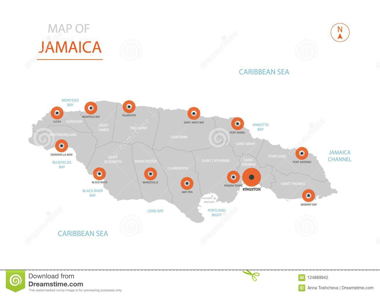 Jamaica Map With Administrative Divisions. Stock Vector ...