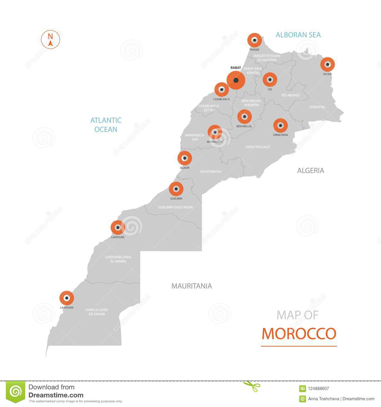 Morocco Map With Administrative Divisions. Stock Vector ...