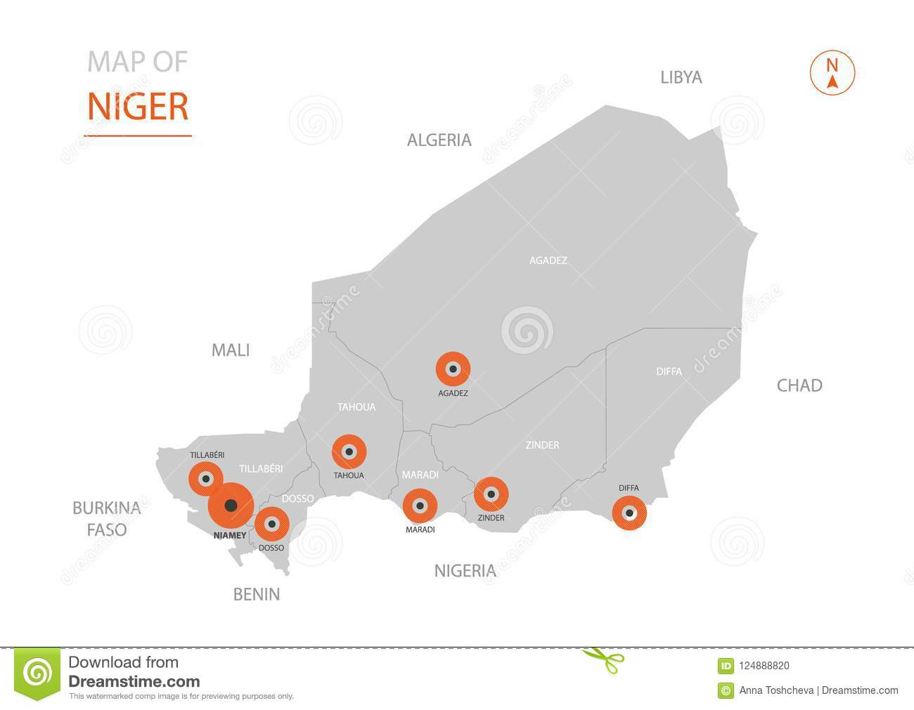 Niger Map With Administrative Divisions. Stock Vector ...