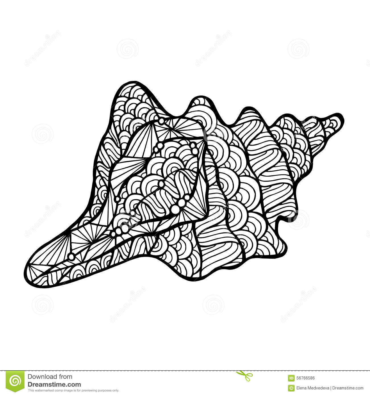 Stylized Vector Shell Zentangle White Background Sea Collection Your Design on S Shell Tattoo