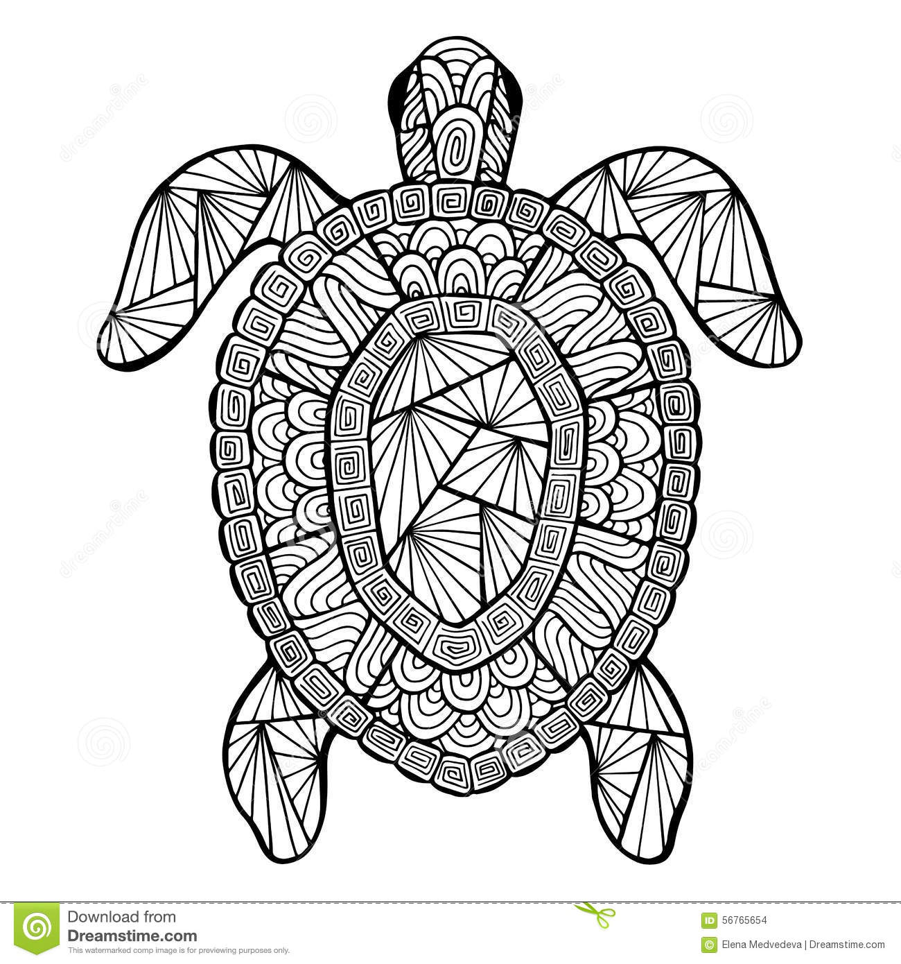 Stylized vector turtle, zentangle isolated on white background. Sea ...
