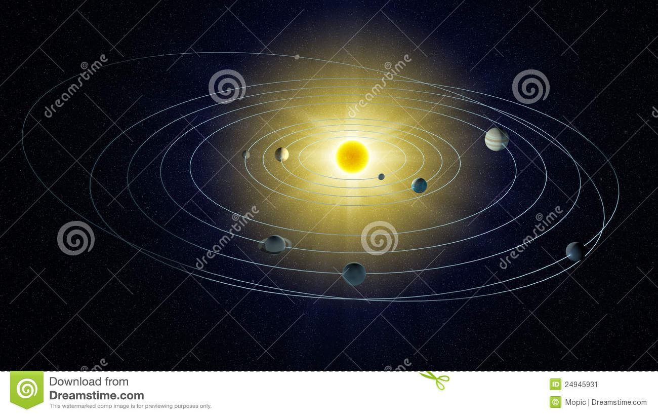 Stylized View Of The Solar System Stock Image Image