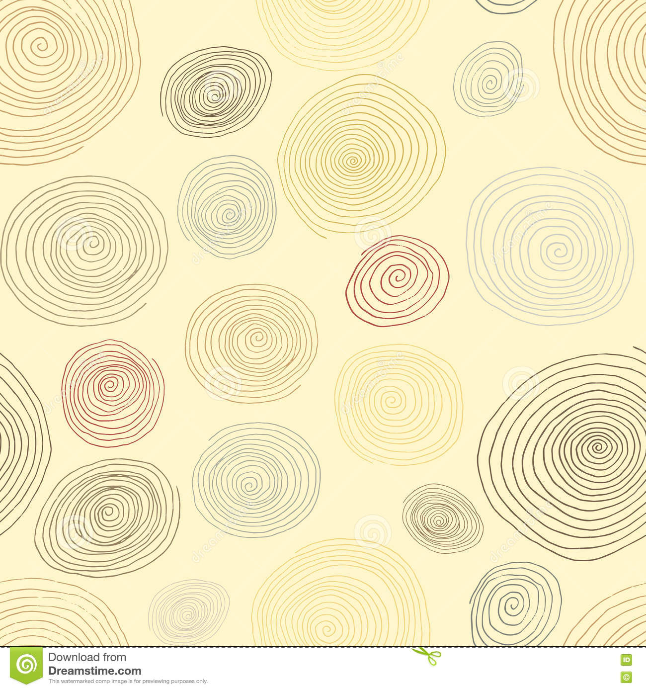 Stylized wooden spirals hand drawn seamless pattern for interior design wallpapers and ceramic tiles