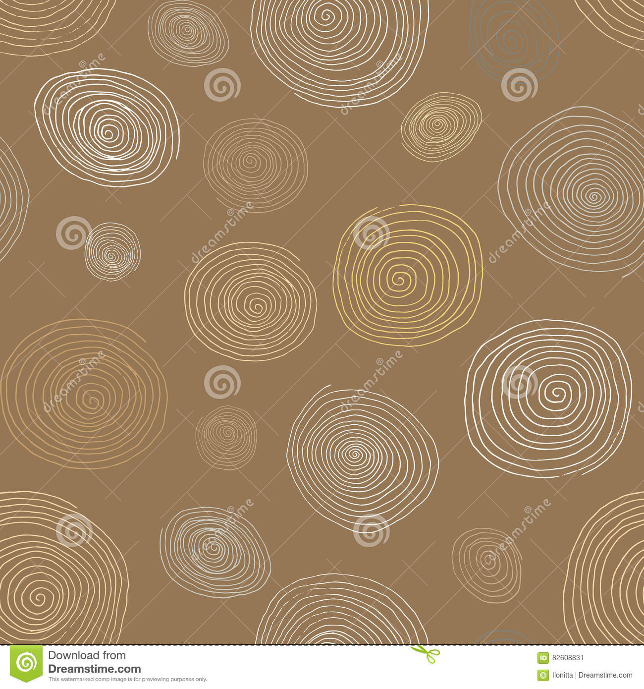 Stylized wooden spirals hand drawn seamless pattern for interior design wallpapers