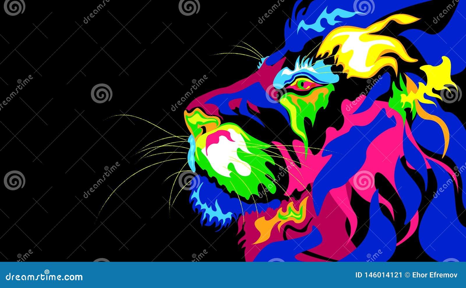 Stylizowana abstrakcja lew