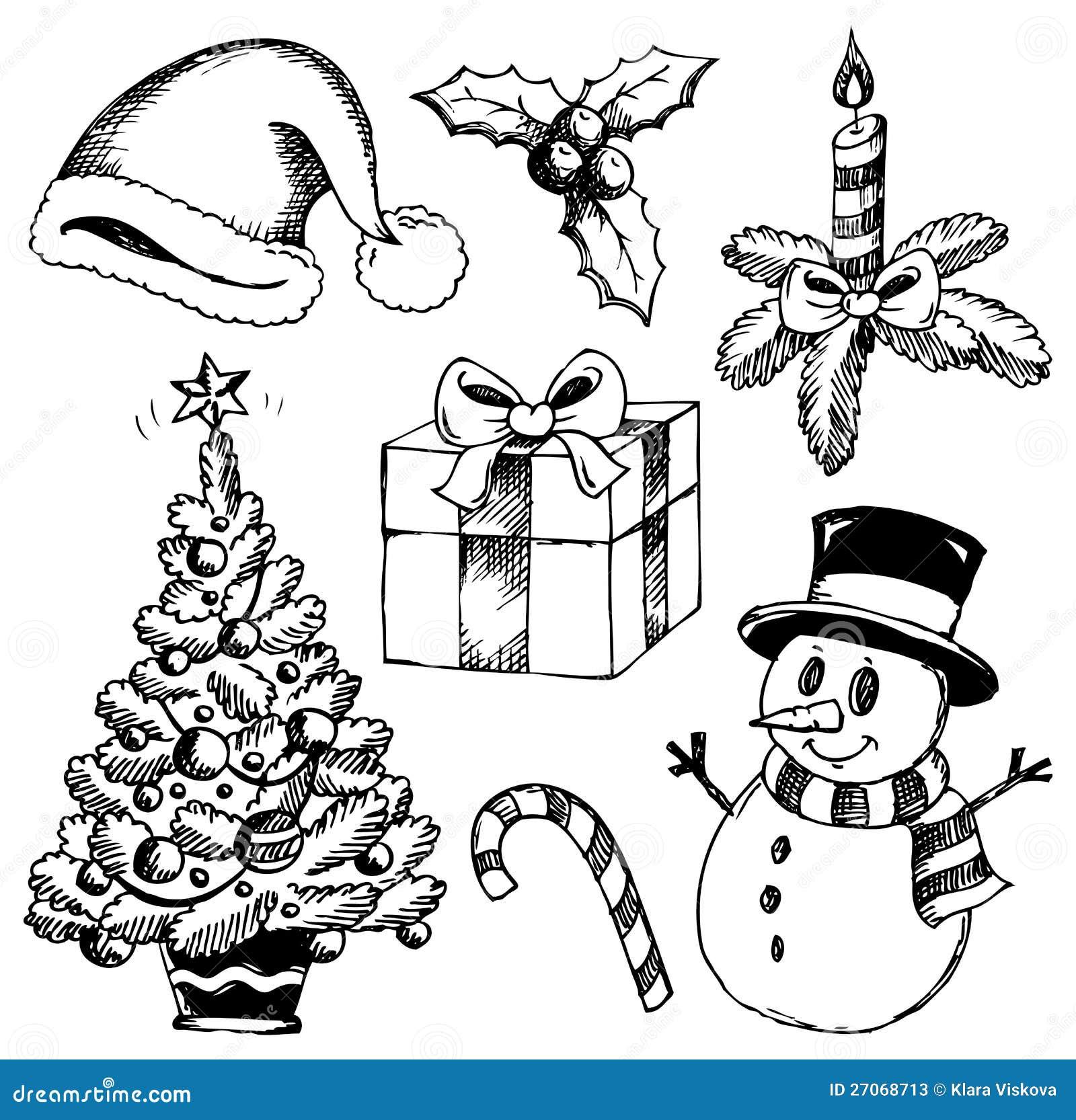Stylizowani Boże Narodzenie Rysunki 1 Ilustracja Wektor