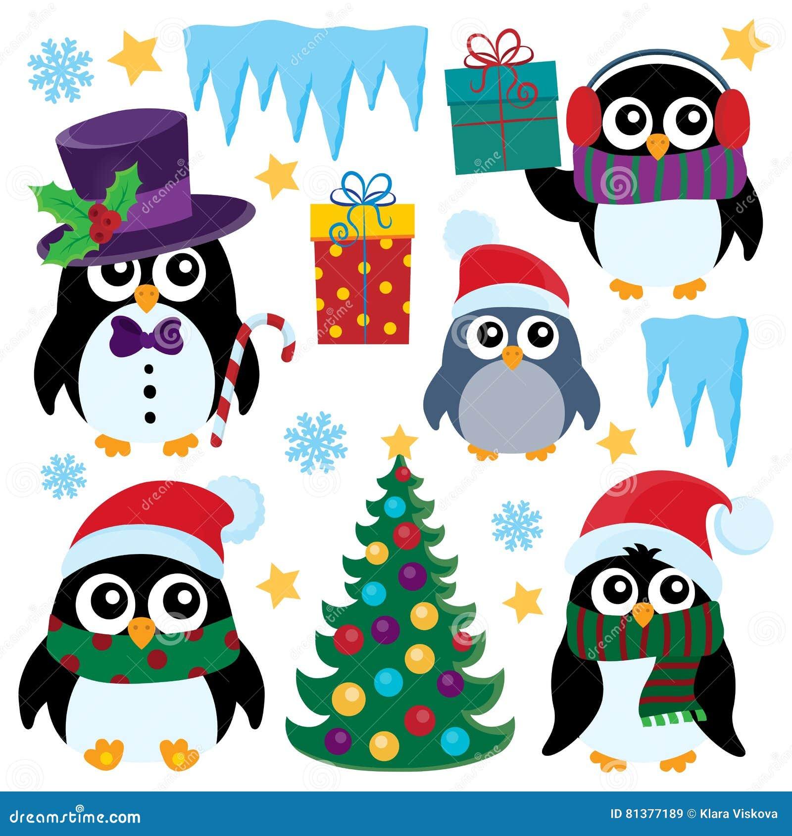 Stylizowani Bożenarodzeniowi pingwiny ustawiają 1
