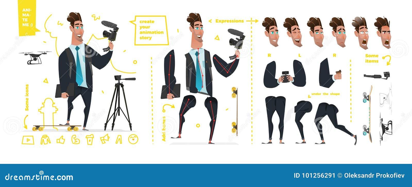 Stylizowani charaktery ustawiający dla animaci