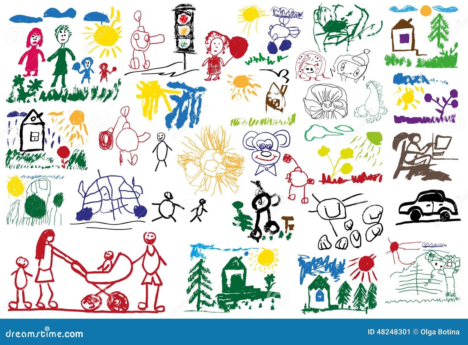Stylizowani children rysunki