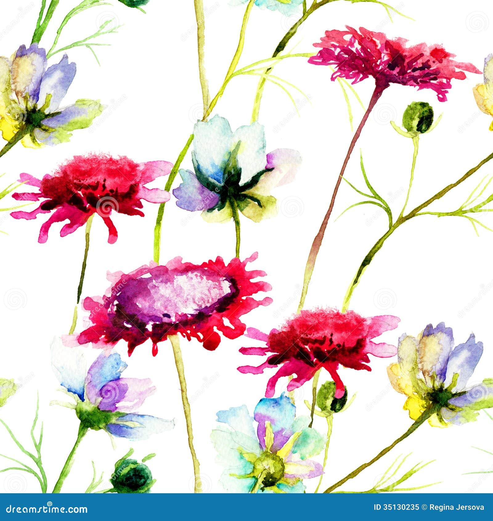 Stylizowani dzicy kwiaty