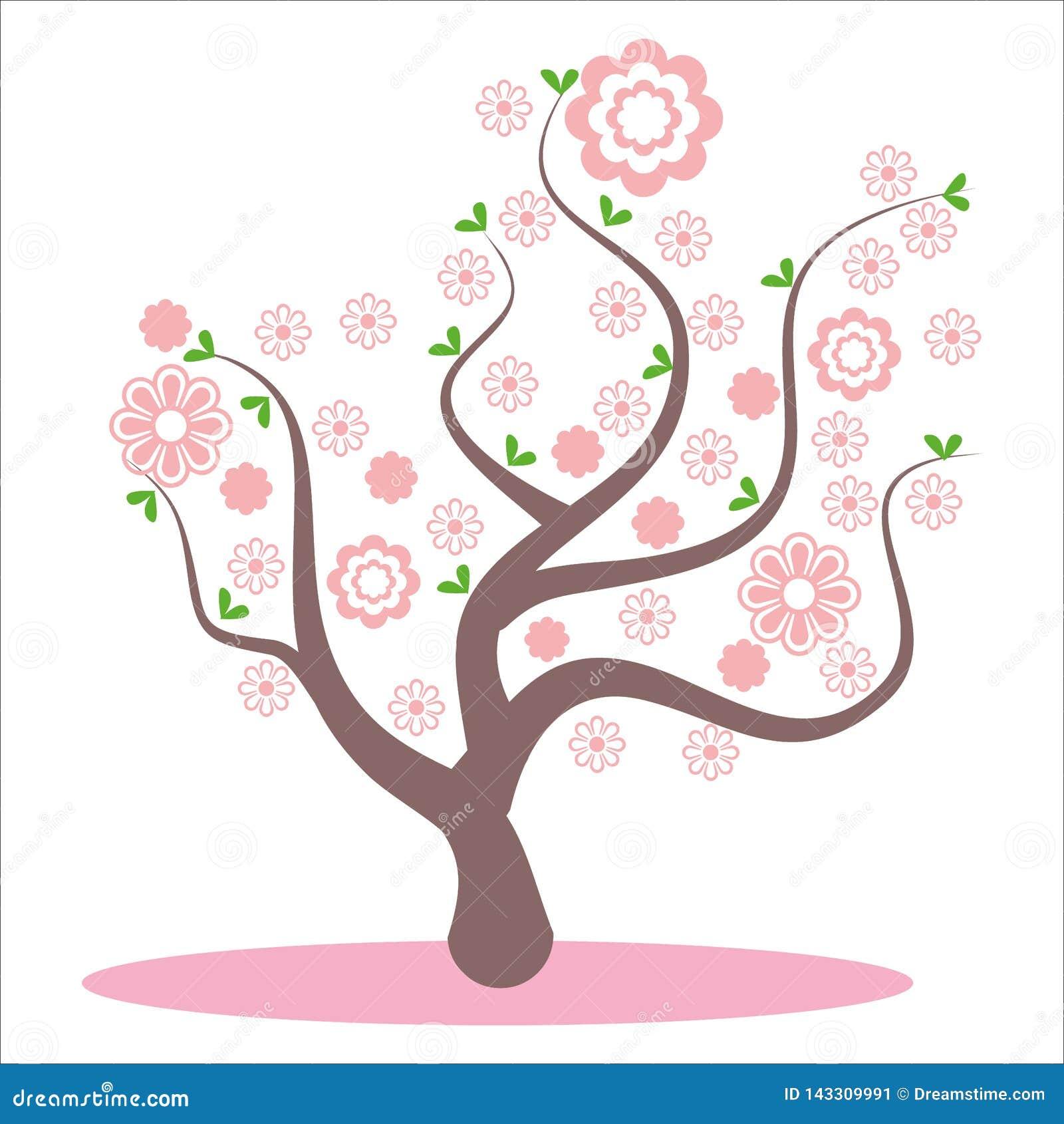 Stylizowany, abstrakcjonistyczny wiosny drzewo, Kwiaty na gałąź, kwiaty na drzewie Sakura okwitnięcie, różowi piękni kwiaty, kwit