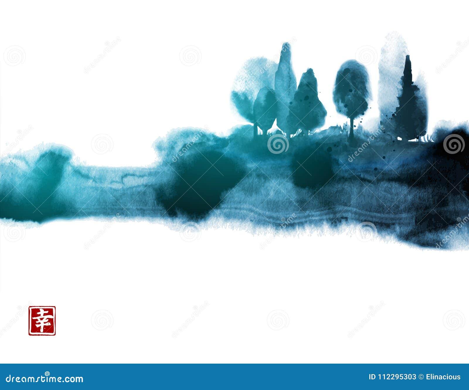 Stylizowany atramentu obmycia obraz z błękitnymi mglistymi lasowymi drzewami Tradycyjny orientalny atramentu obrazu sumi-e, grzec