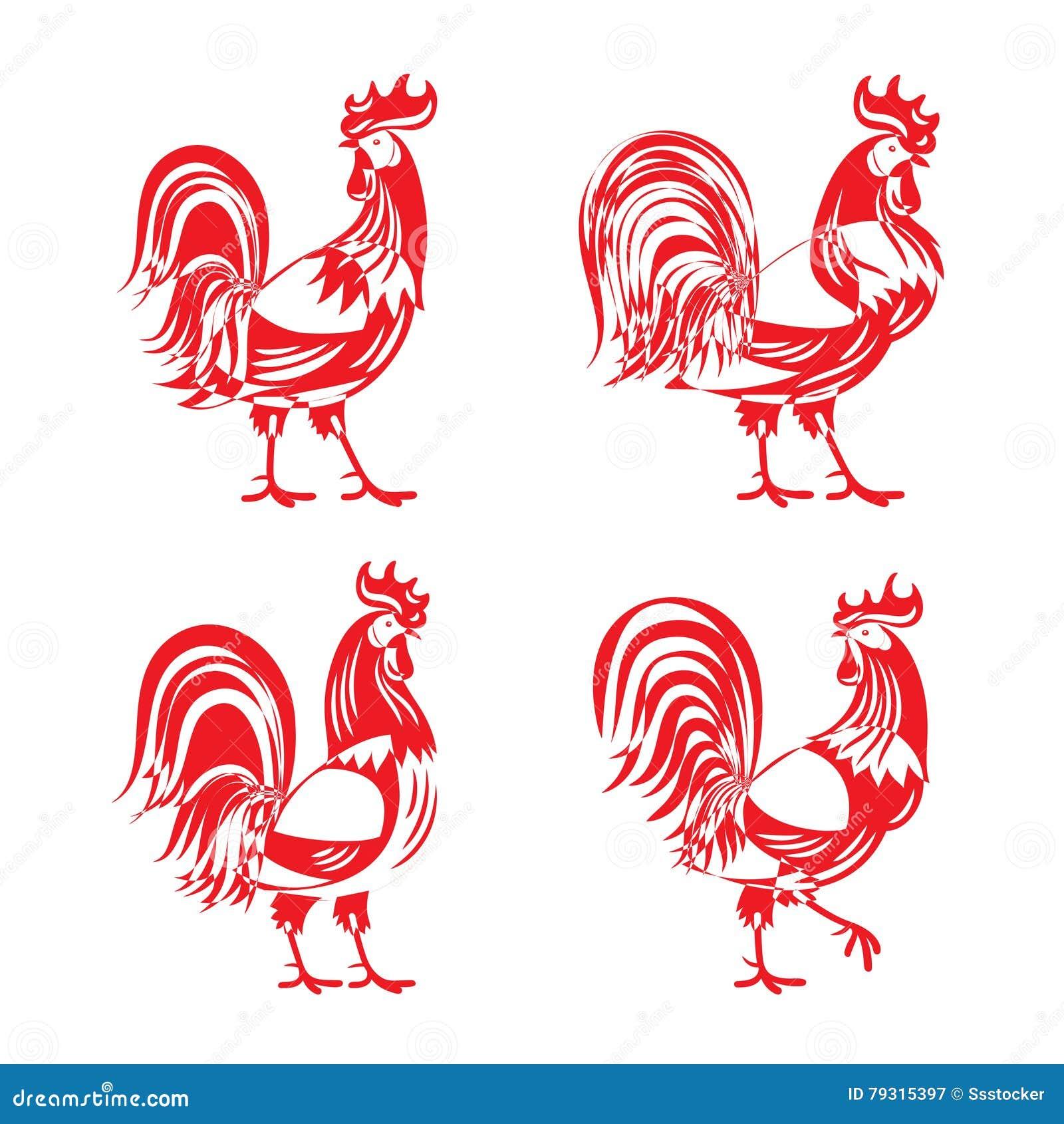 Stylizowany czerwony cockerel koguta sylwetki set
