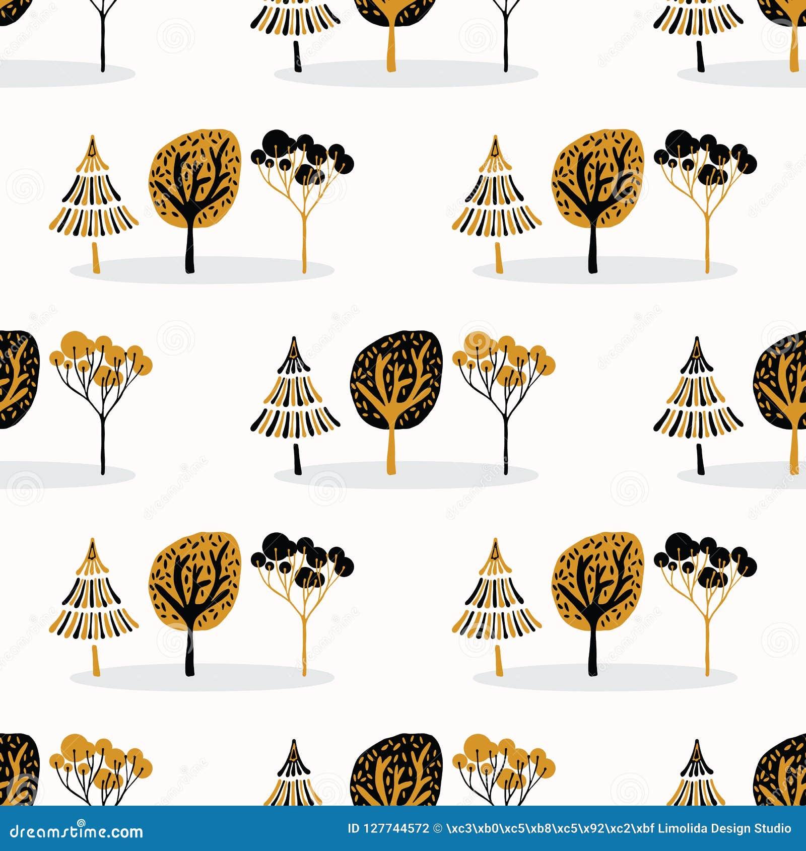 Stylizowany Drzewny Drewniany Wielostrzałowy Bezszwowy wzór, ręka Rysujący rocznika styl
