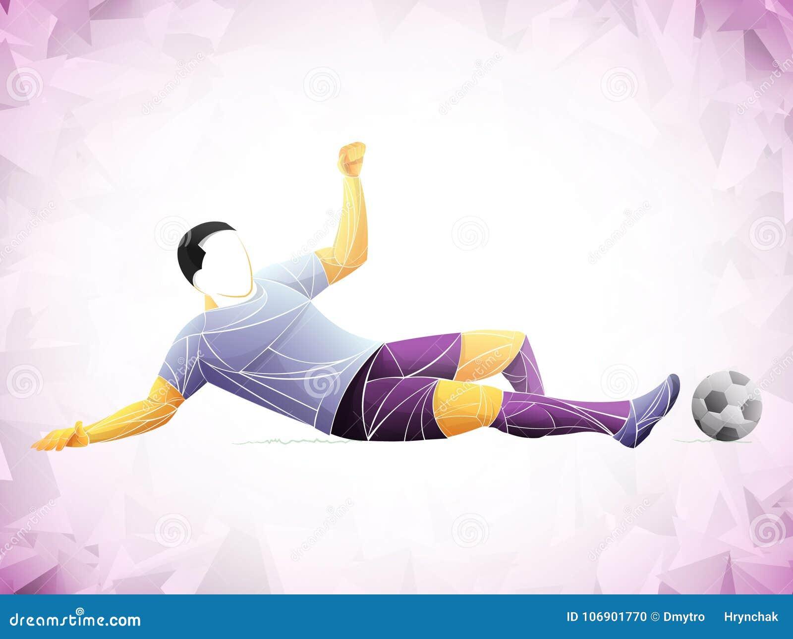 Stylizowany, geometryczny gracz, jest graczem piłki nożnej Atleta jest postem, silnym Mecz futbolowy ilustracja