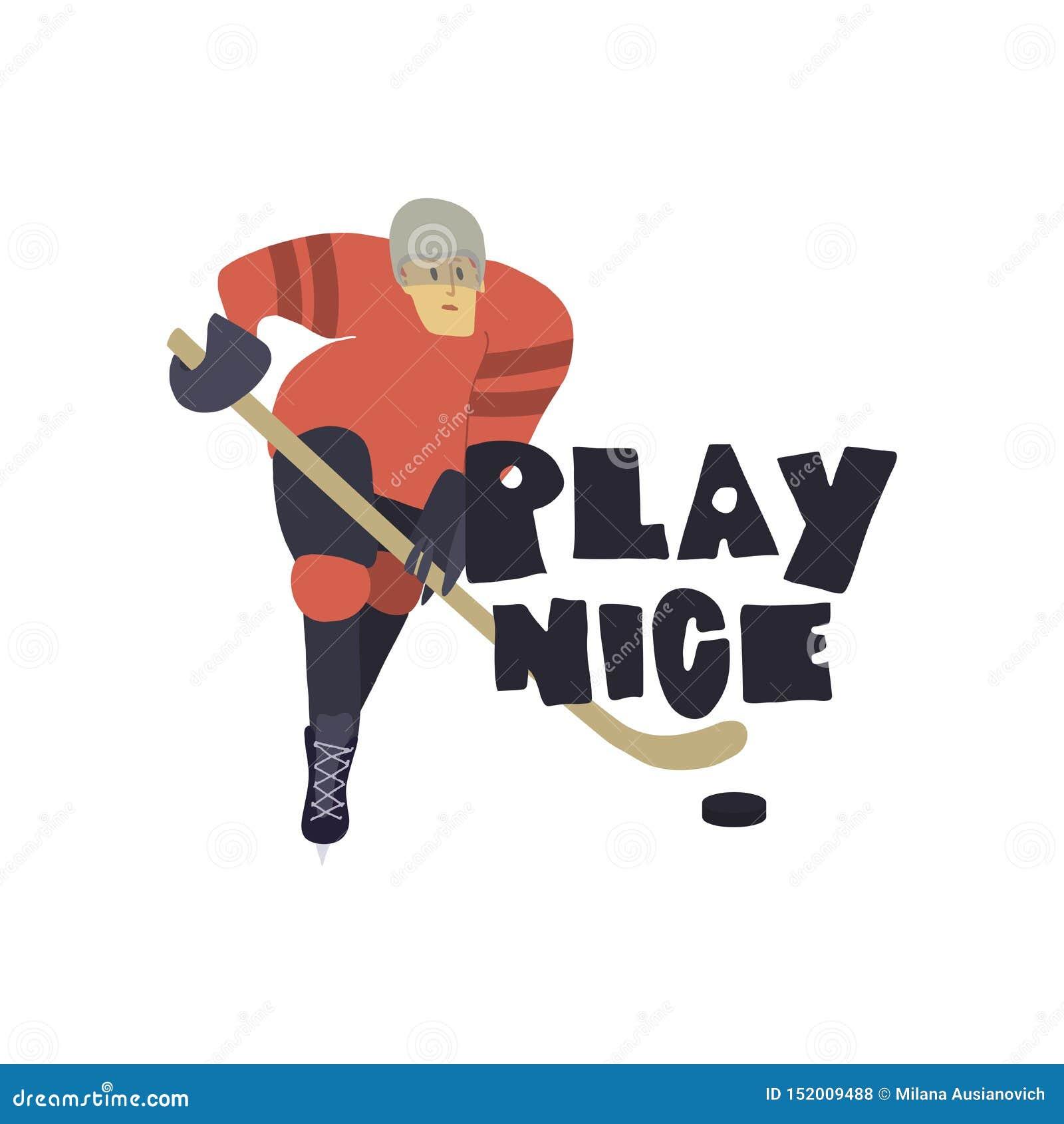 Stylizowany gracz w hokeja Sztuka ładny freehand tekst