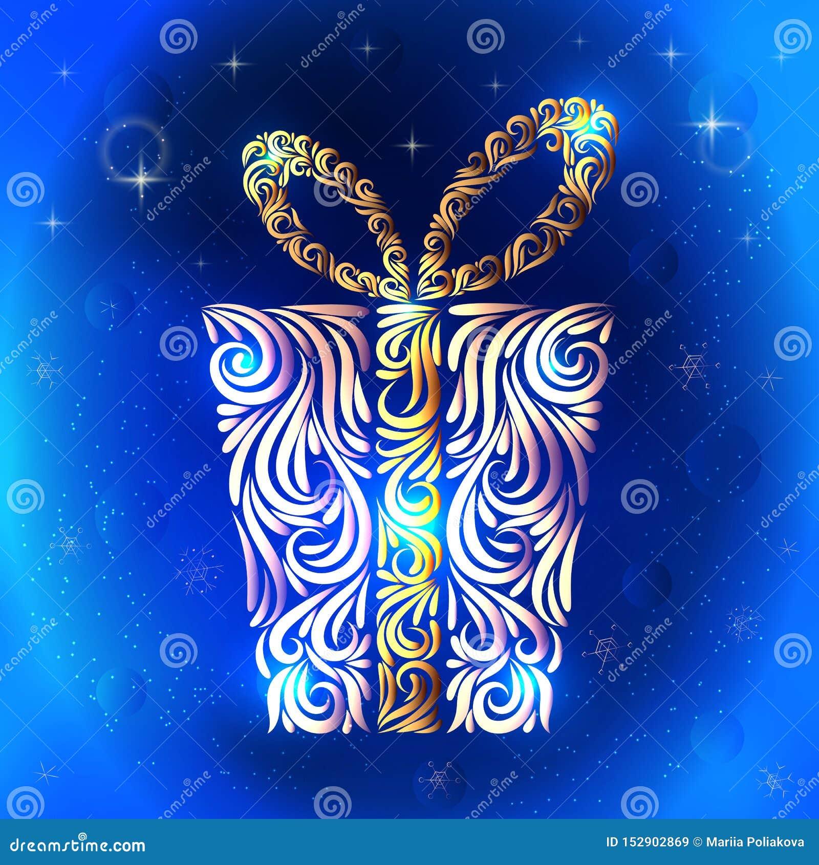 Stylizowany prezent od elementów ornament ?wi?towanie Bo?e Narodzenia nowy rok, Urodziny p?atki ?niegu