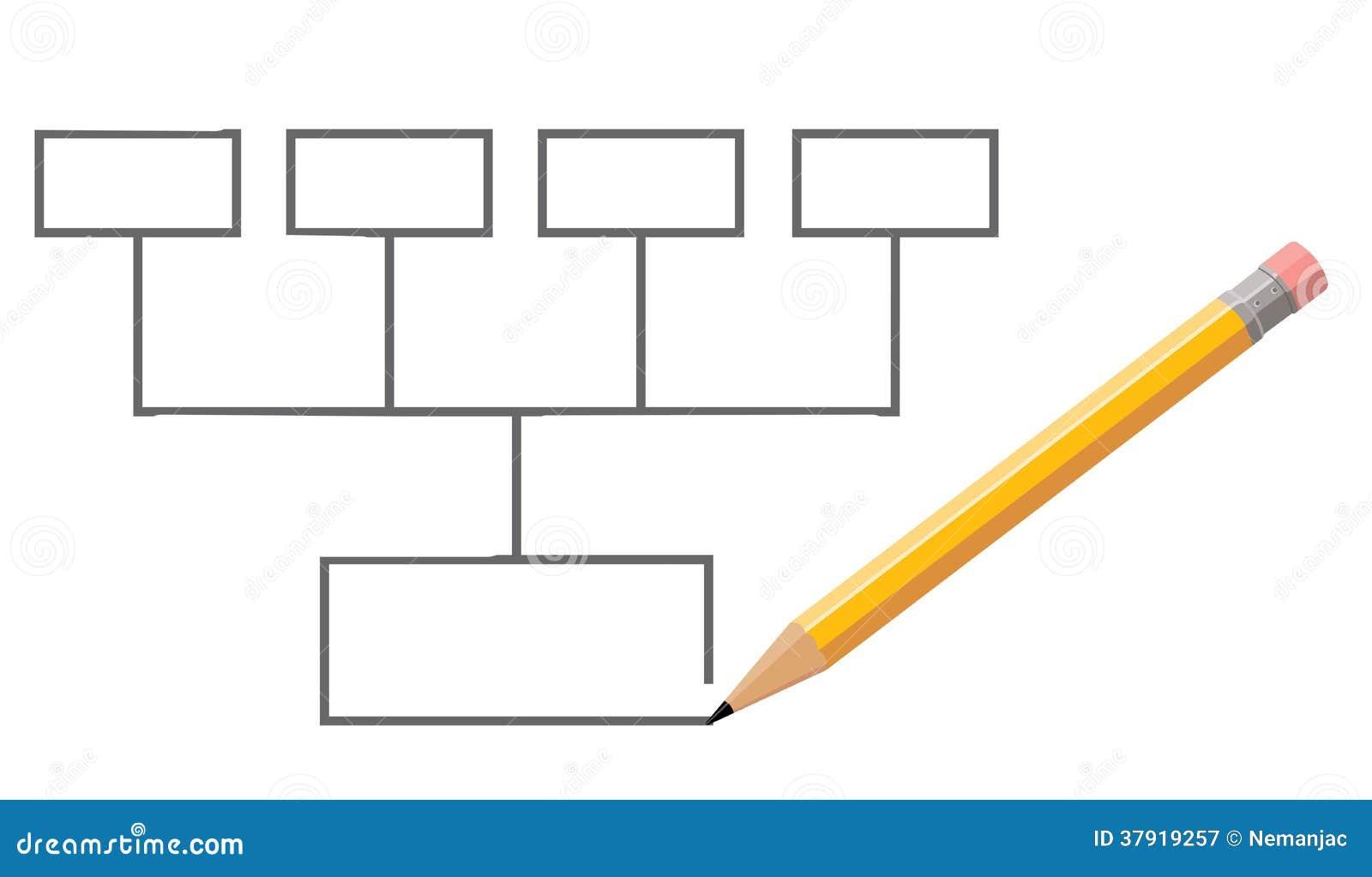 Stylo  U00e9crivant Le Diagramme Vide Illustration Stock