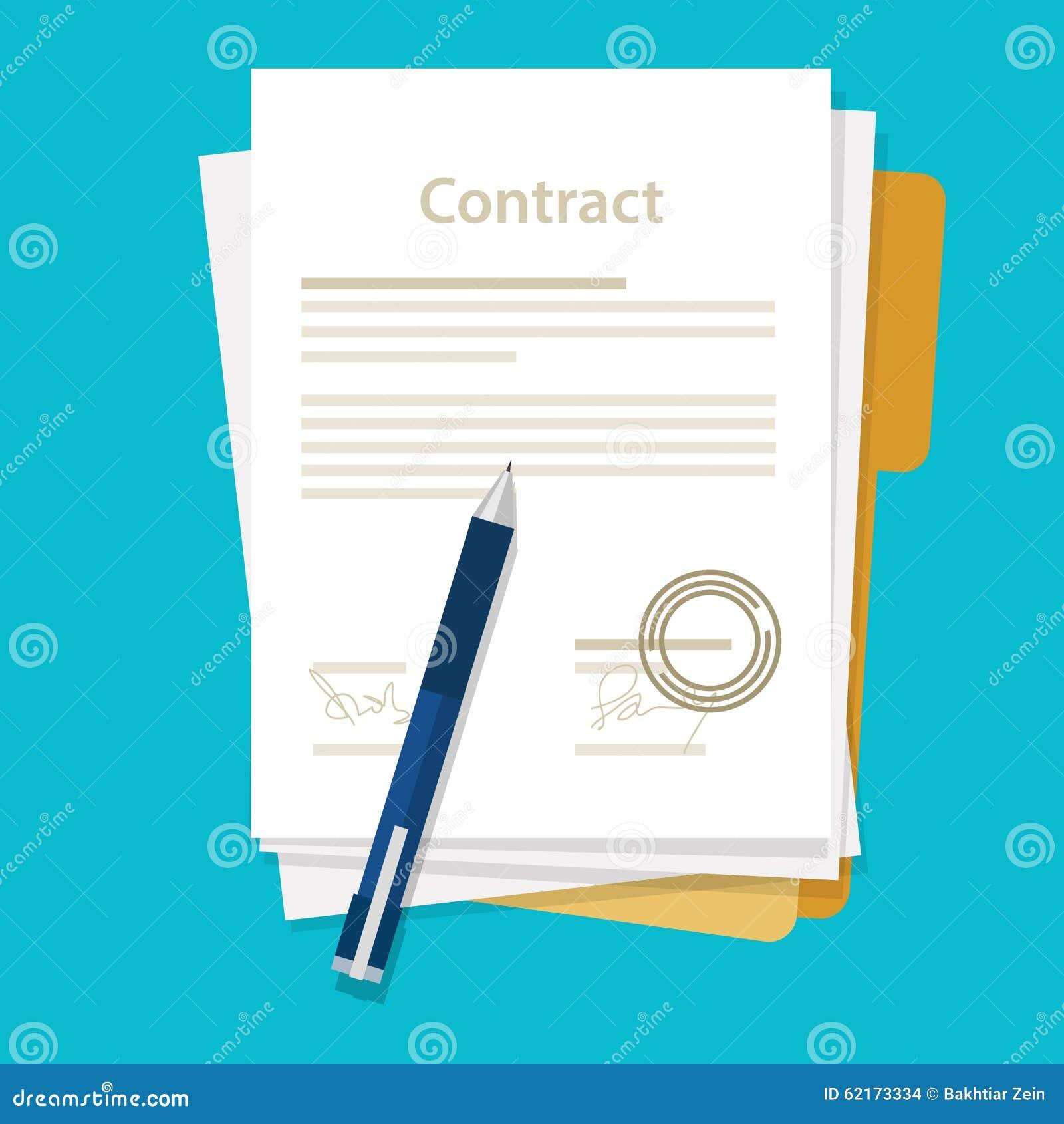 Stylo de papier signé d accord d icône de contrat d affaire sur le vecteur plat d illustration d affaires de bureau