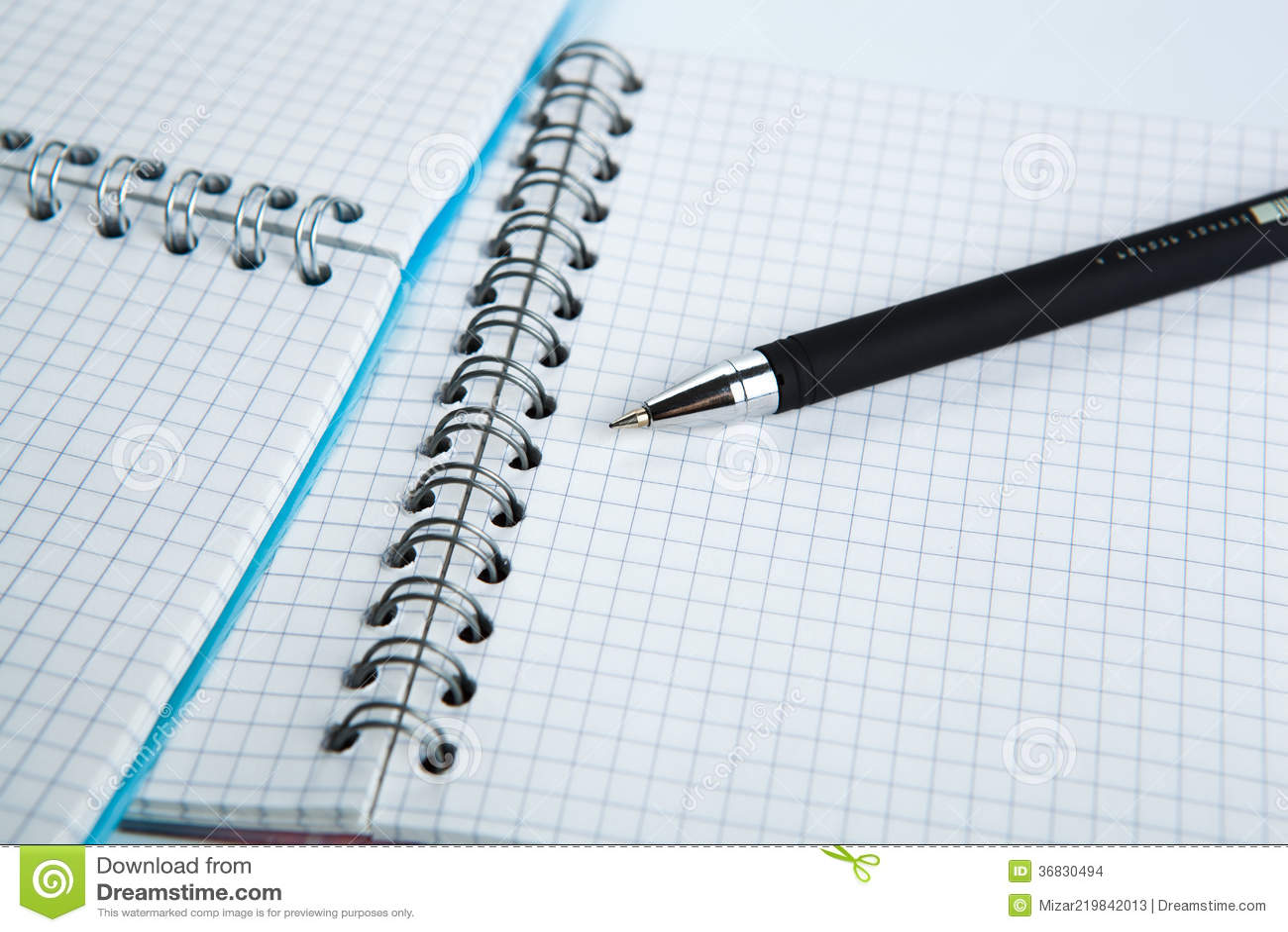 stylo sur le carnet de papier carreaux. Black Bedroom Furniture Sets. Home Design Ideas