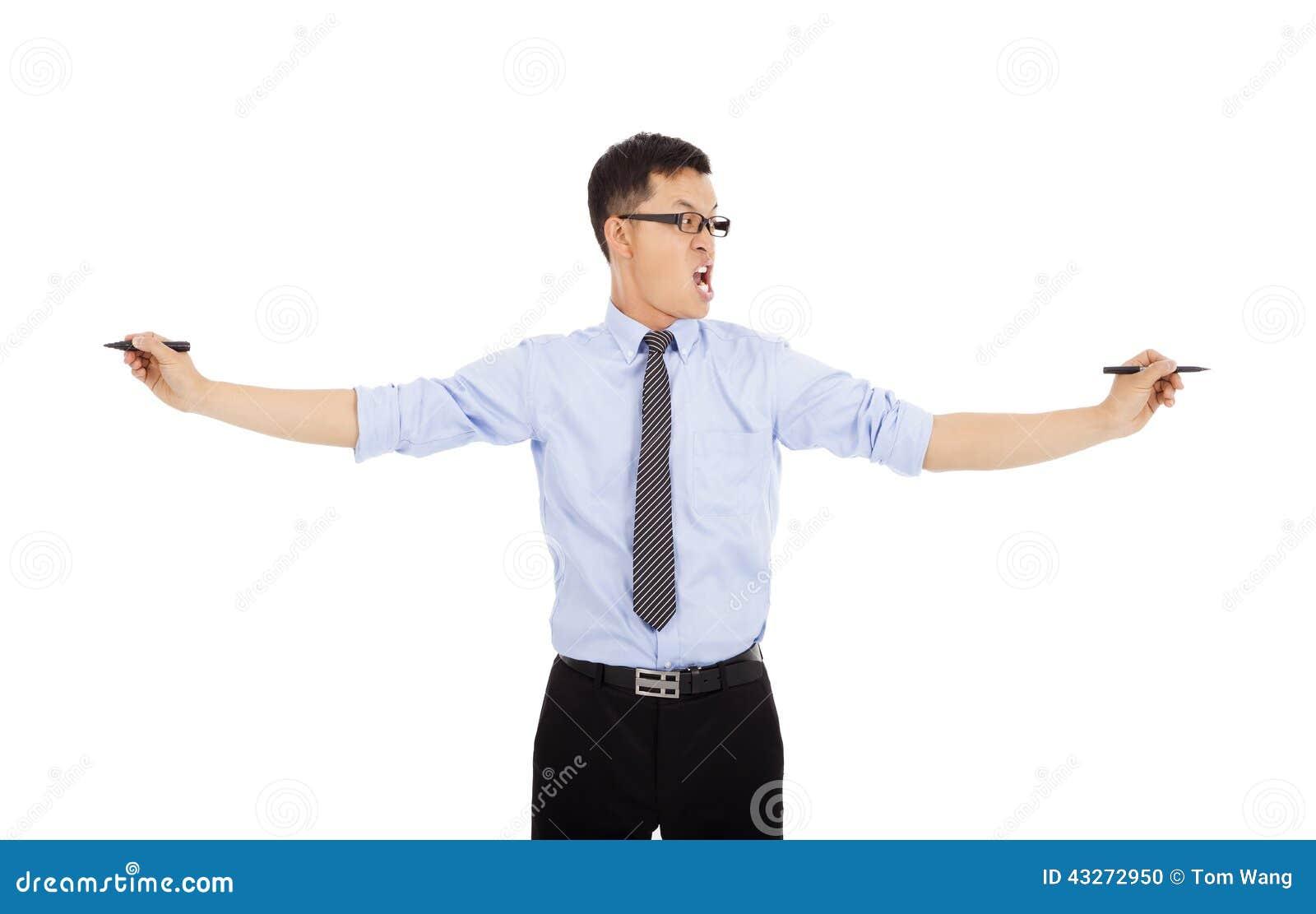Stylos de participation nerveux d homme d affaires à travailler D isolement sur le blanc