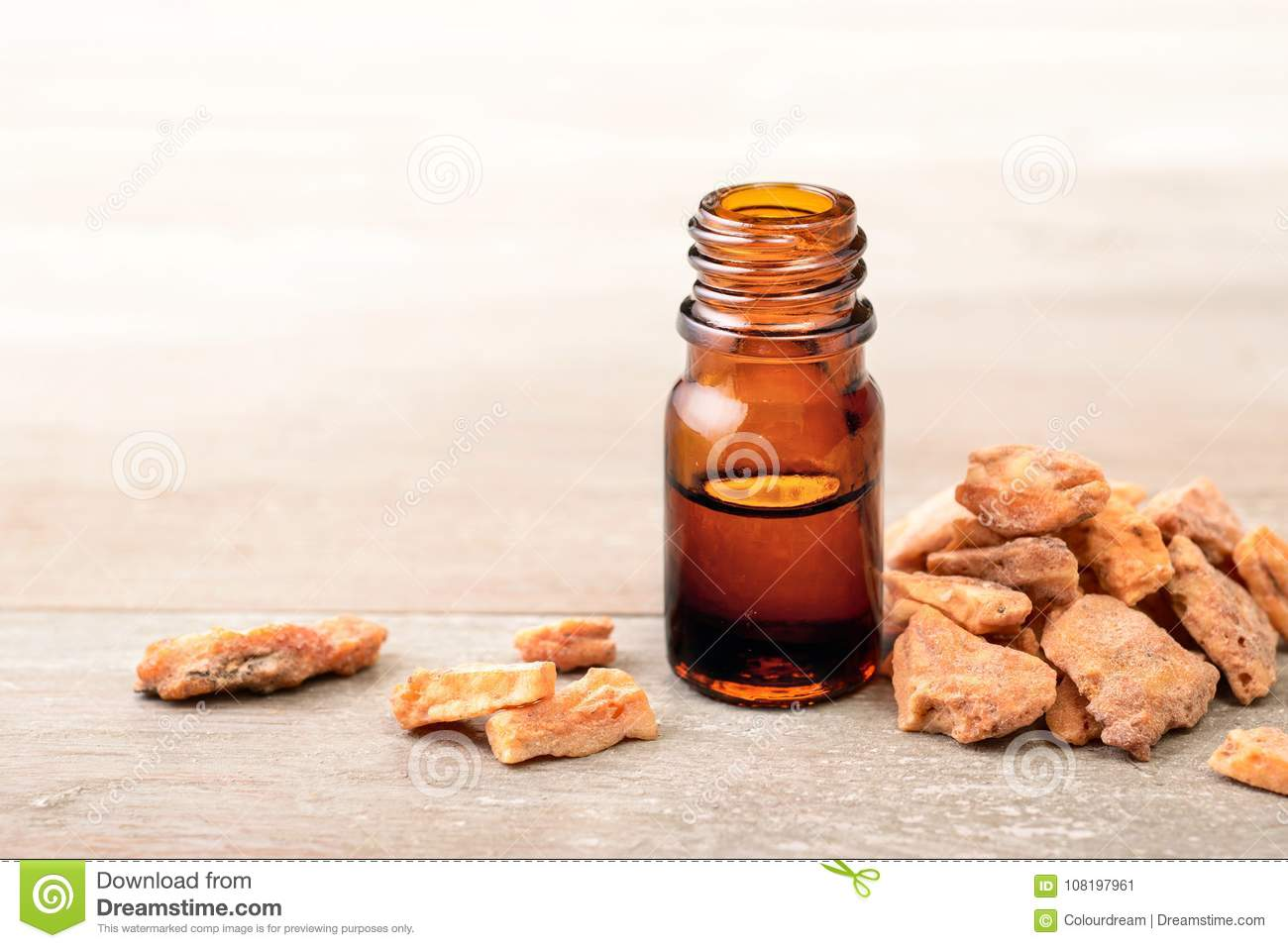 Styrax Benzoin Essential Oil In The Bottle Stock Image - Image of