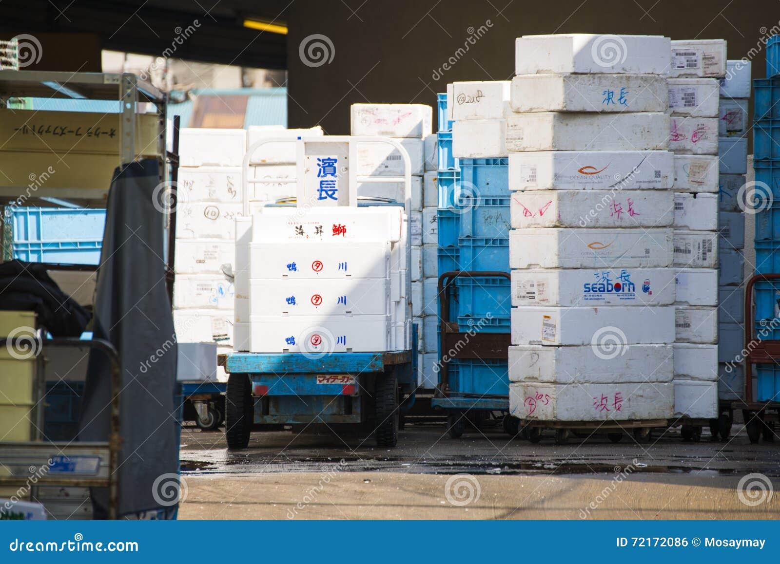 Styrofoam Storage Box For Frozen Food Editorial Photo - Image of