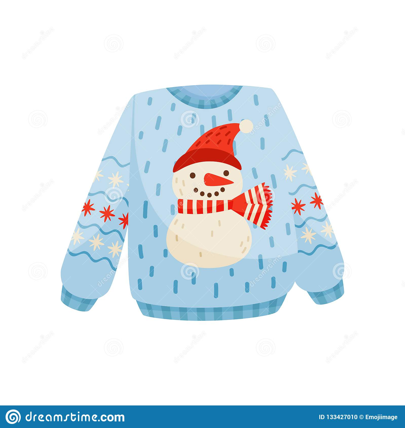 Suéter de la Navidad con el muñeco de nieve lindo, ejemplo caliente hecho punto del vector del puente del invierno en un fondo bl