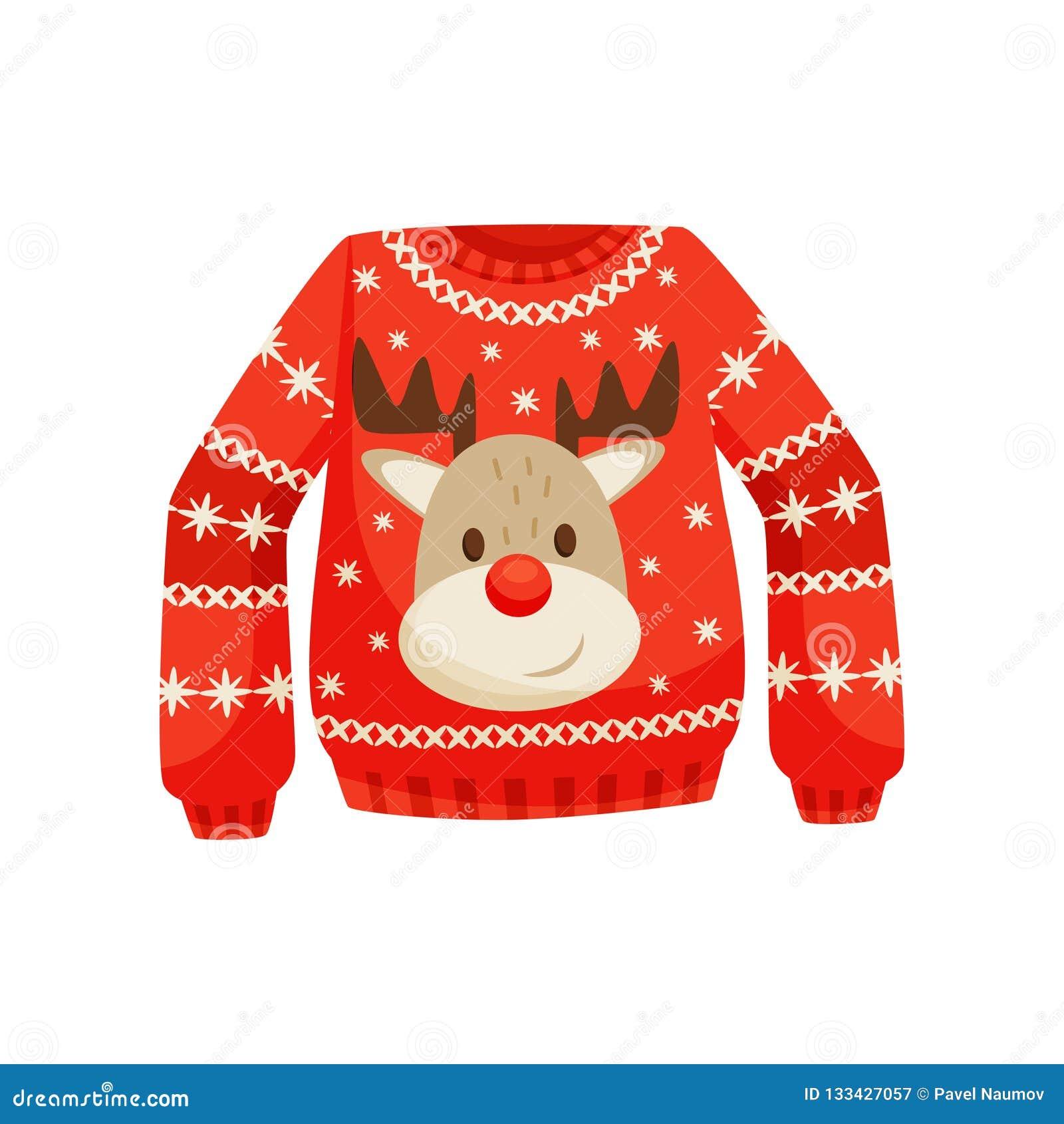 Suéter rojo de la Navidad, puente caliente hecho punto con el ejemplo lindo del vector del reno en un fondo blanco