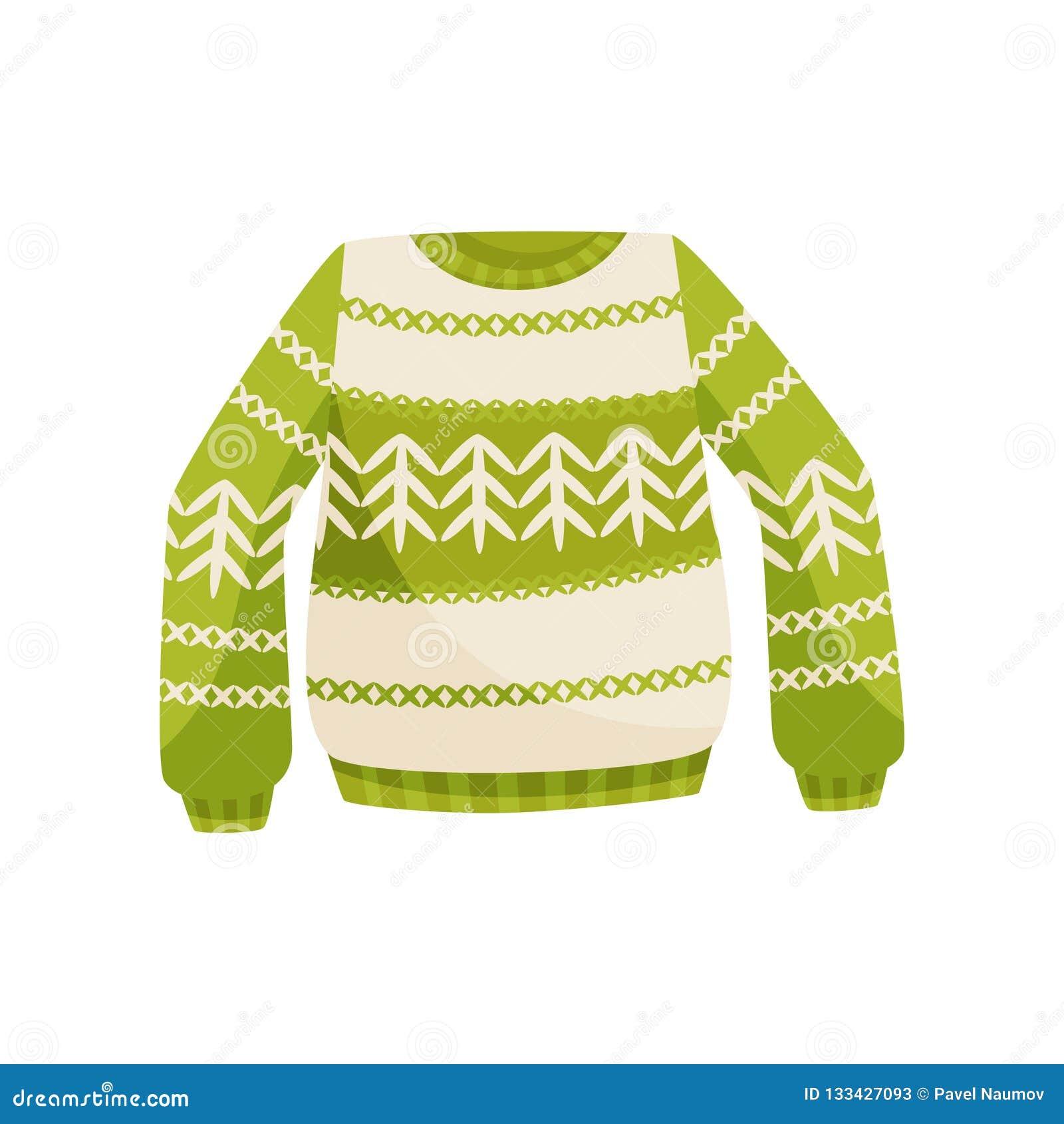 Suéter verde de la Navidad con el ornamento noruego, ejemplo caliente hecho punto del vector del puente en un fondo blanco