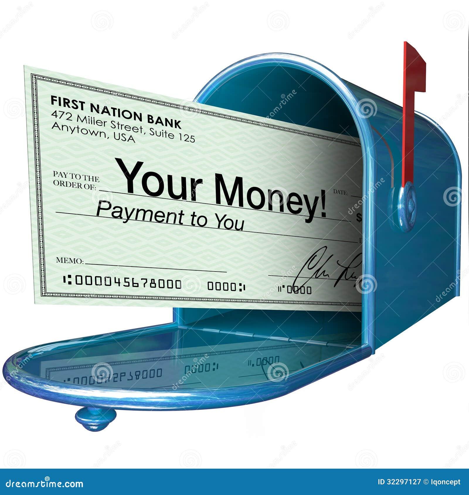 Su pago del control del dinero en buzón